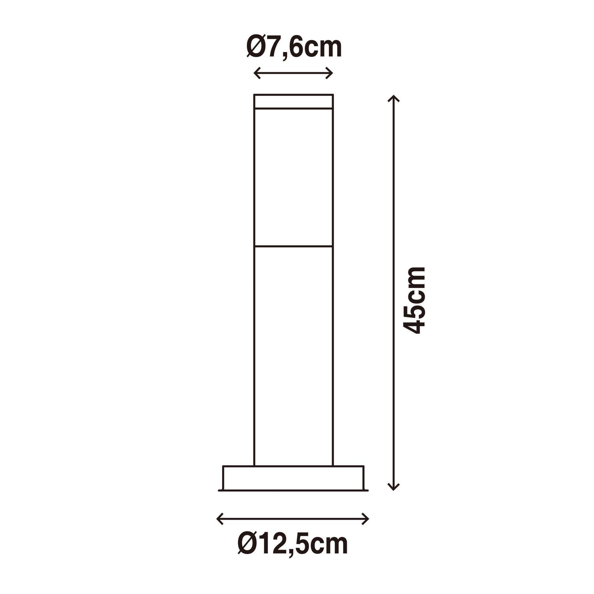 Lampione Travis H45.0 cm in acciaio inossidabile, nero, E27 1x MAX 15W IP44 INSPIRE - 8