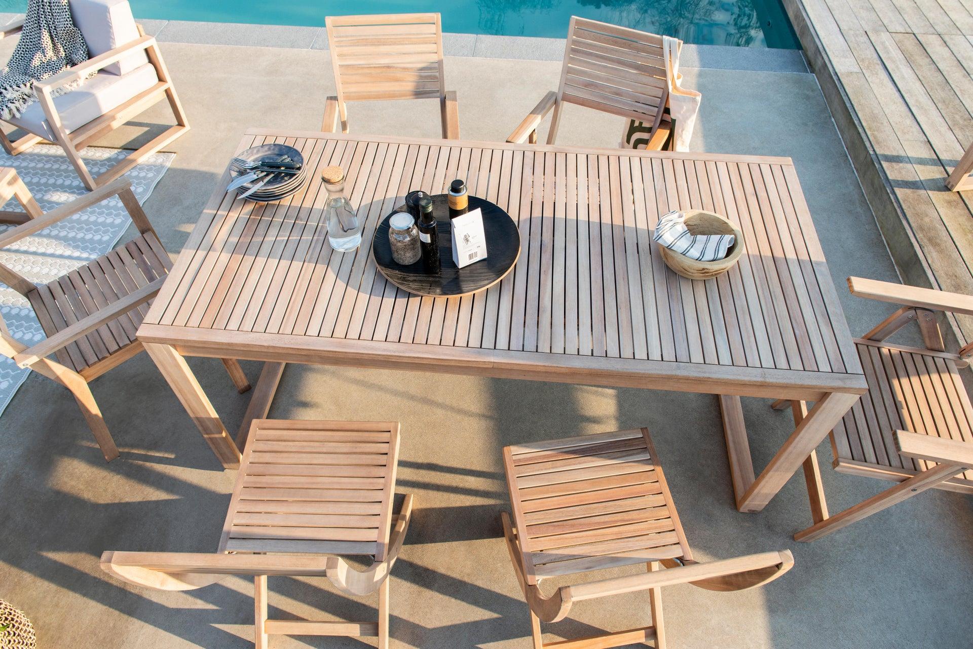 Sedia con braccioli senza cuscino pieghevole in legno Solaris NATERIAL colore acacia - 13