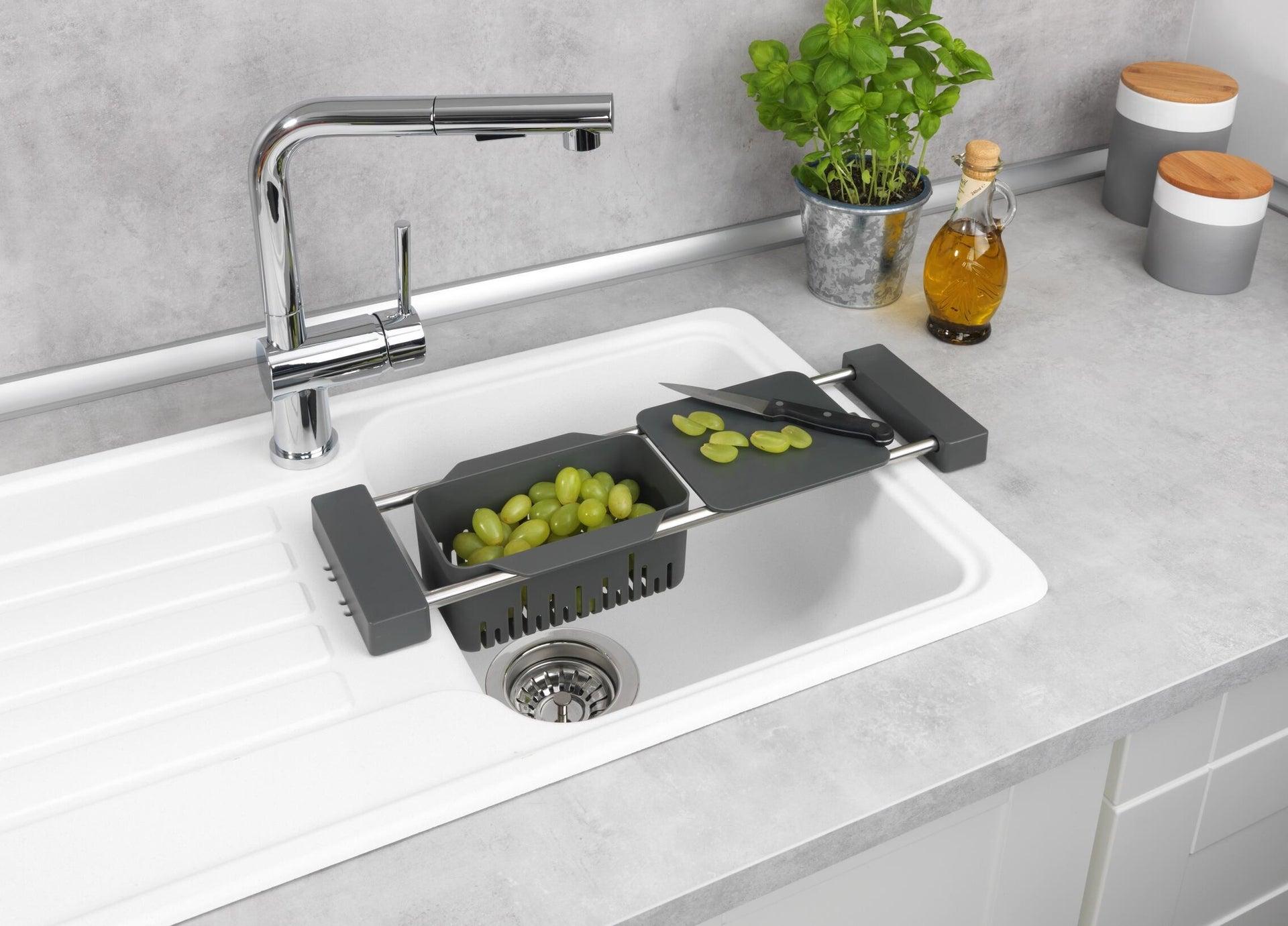 Vaschetta portaoggetti per lavello Cami per lavello grigio L 77.5 x P 14 x H 8 cm - 7