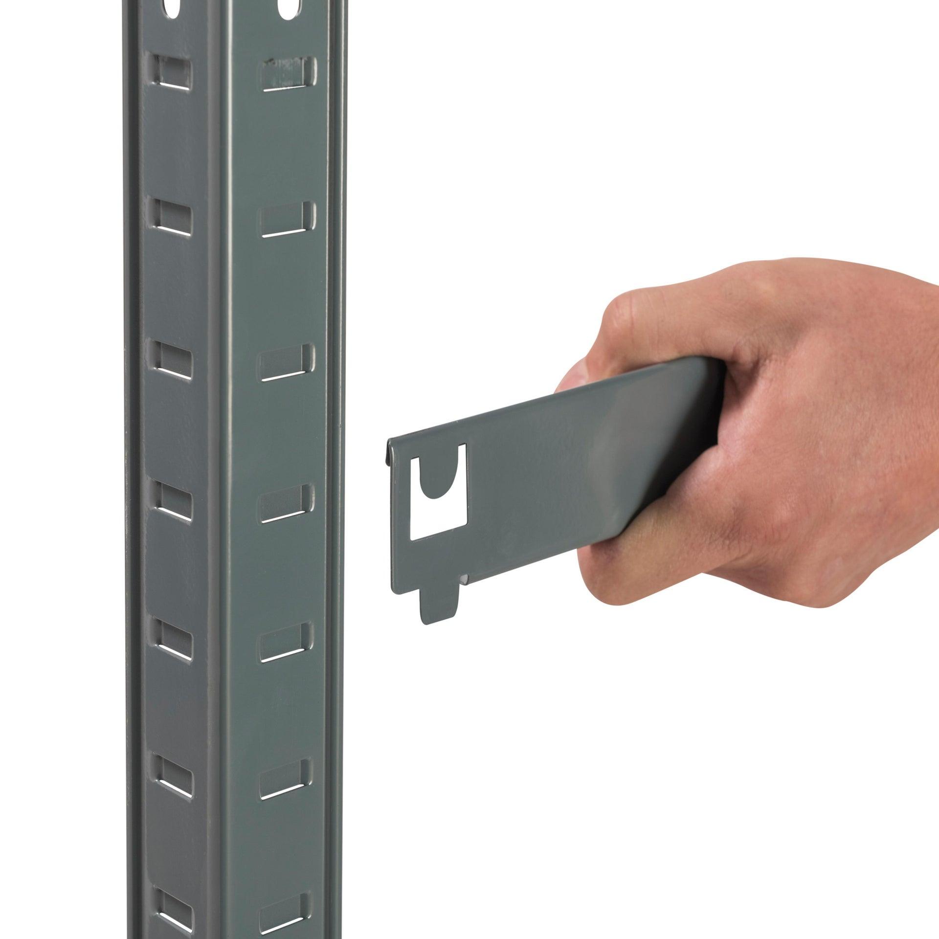 Scaffale in metallo in kit Spaceo L 100 x P 50 x H 196 cm grigio antracite - 12