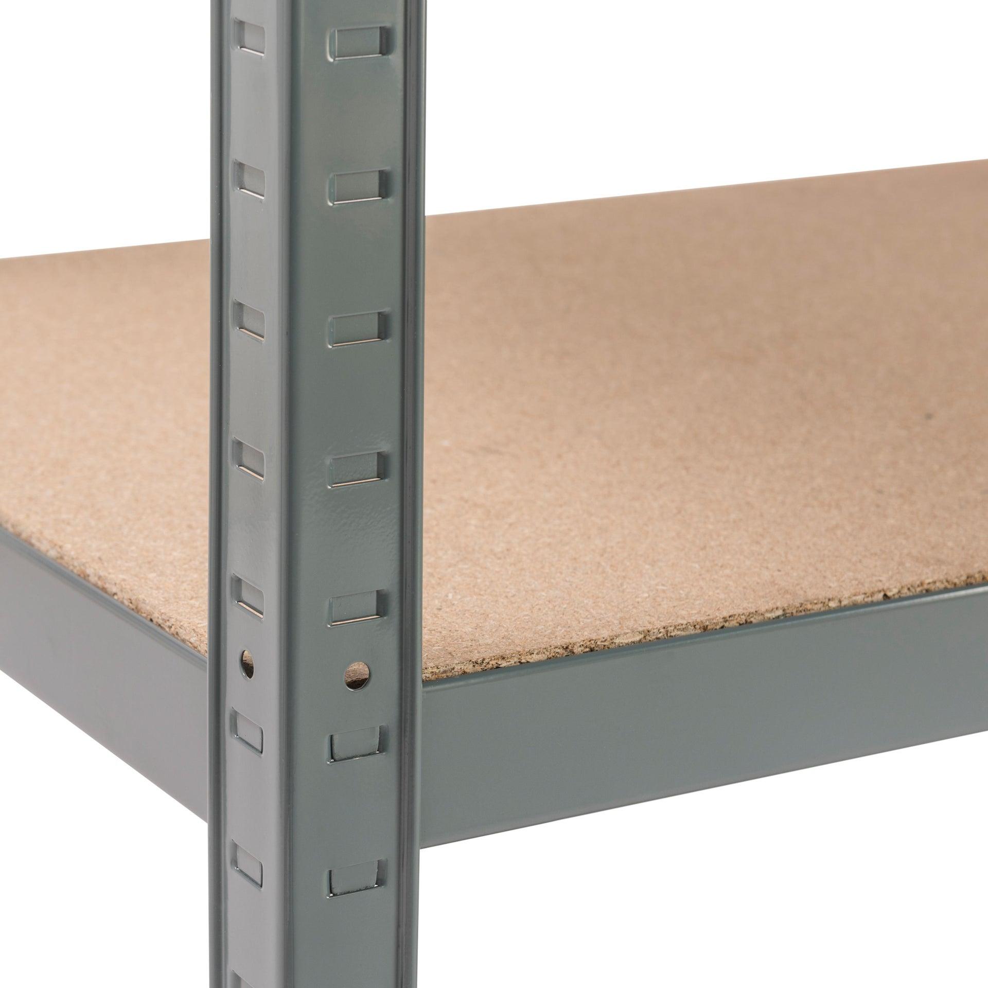 Scaffale in metallo in kit Spaceo L 100 x P 50 x H 196 cm grigio antracite - 5