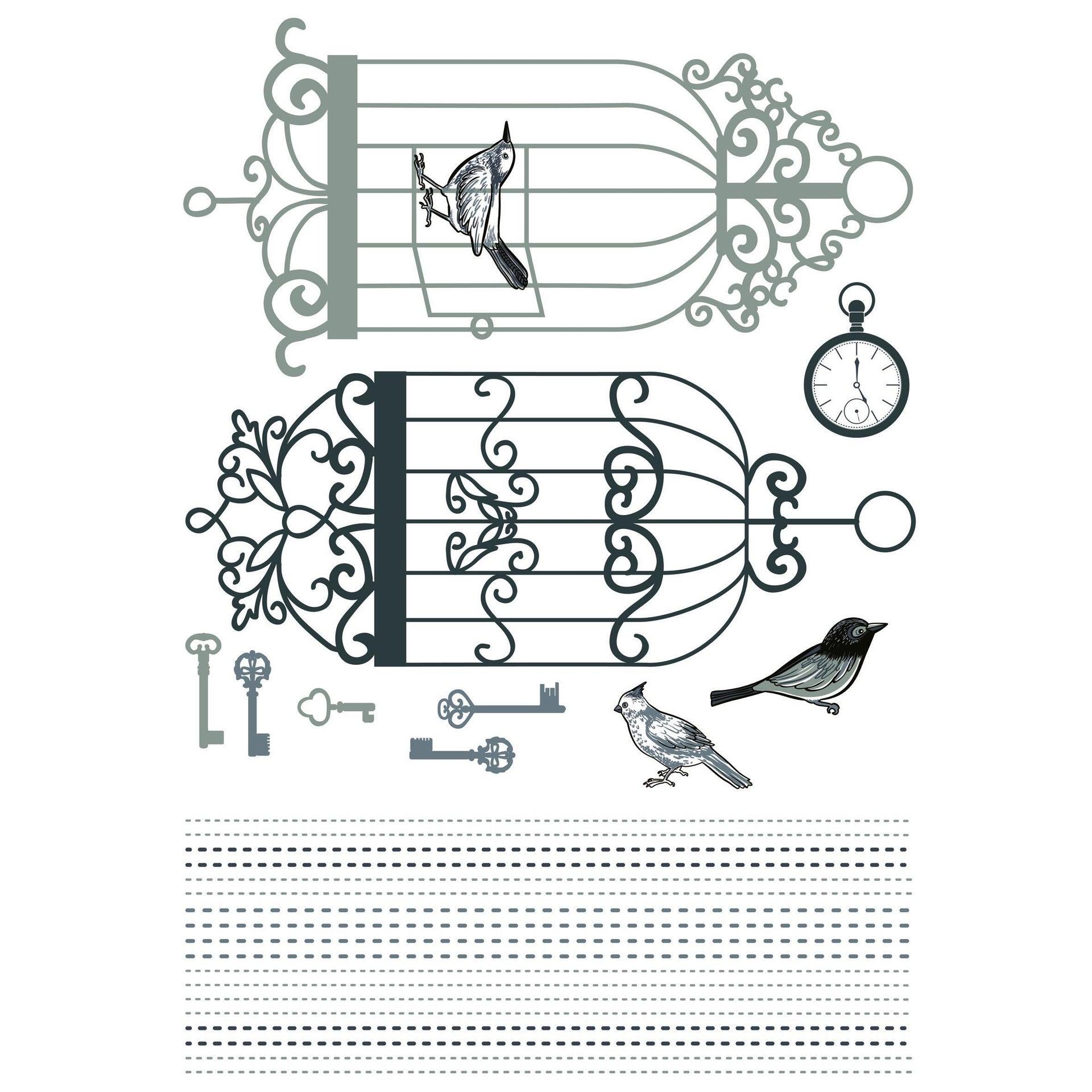 Sticker Birds & cages 14x73 cm - 3