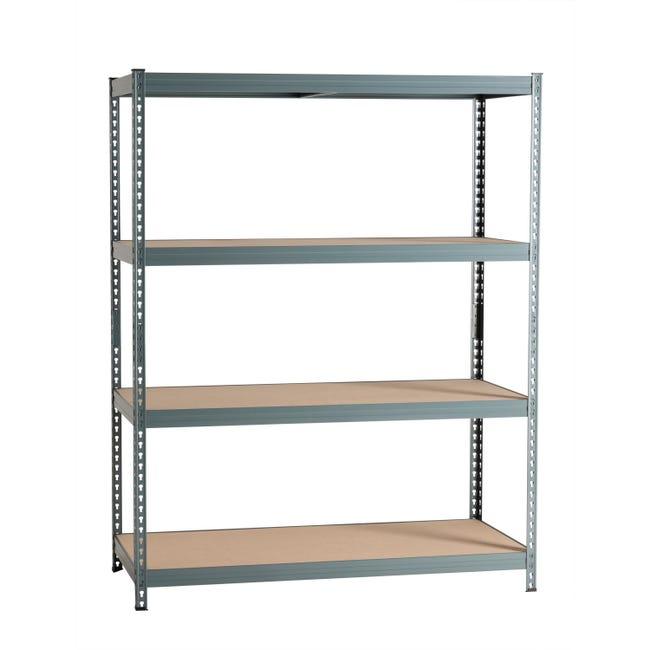 Scaffale in metallo in kit Spaceo L 150 x P 60 x H 190 cm grigio antracite - 1