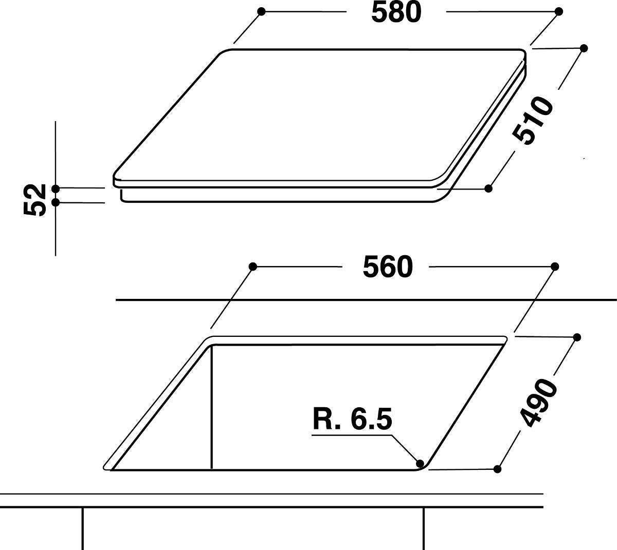 Piano cottura induzione 56 cm INDESIT VIA 640.1 C - 3
