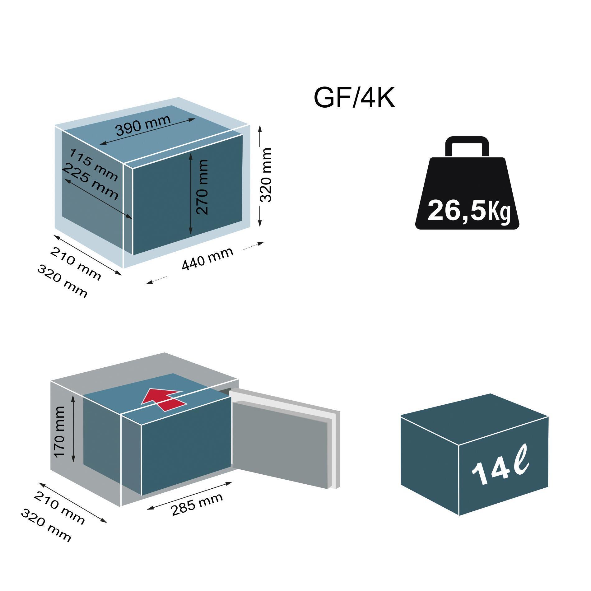 Cassaforte a chiave TECHNOMAX da fissare a parete L44 x P32 x H21 cm - 5