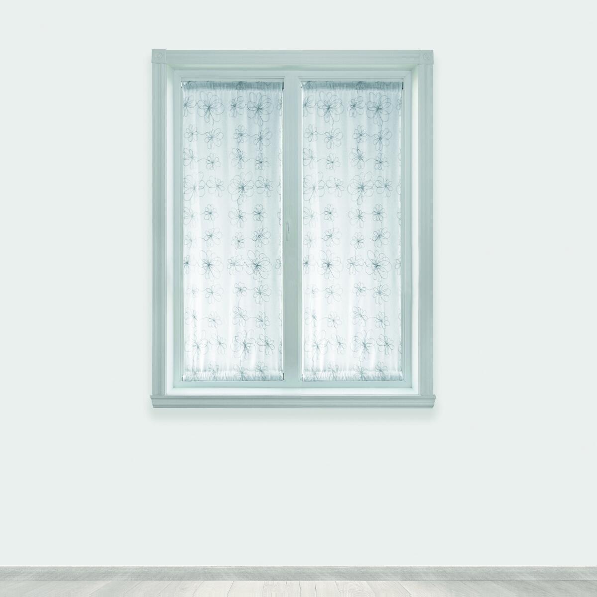 Tendina vetro Caterina argento tunnel 60 x 150 cm - 2