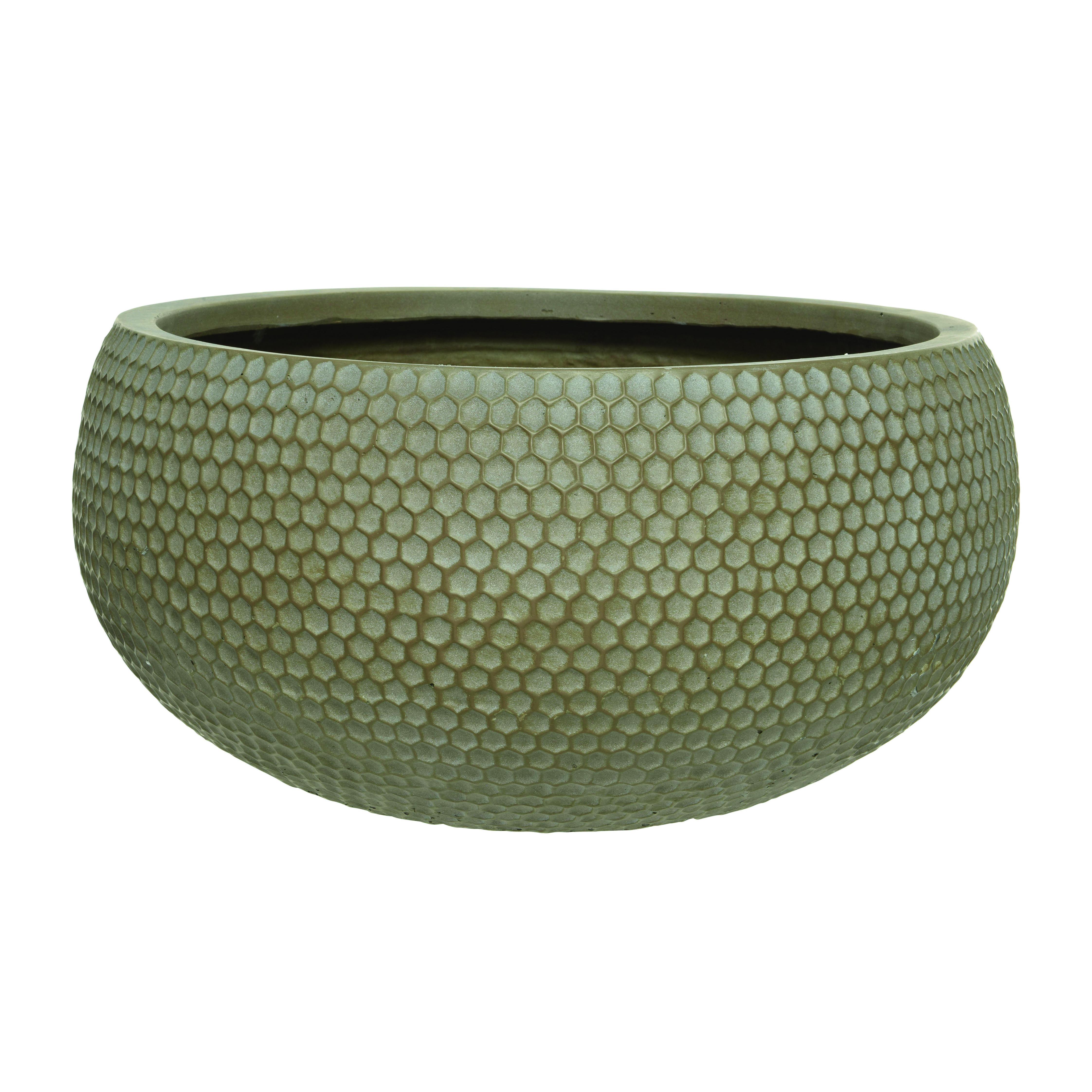 Vaso KAEMINGK in plastica colore tortora H 18 cm, Ø 18 cm