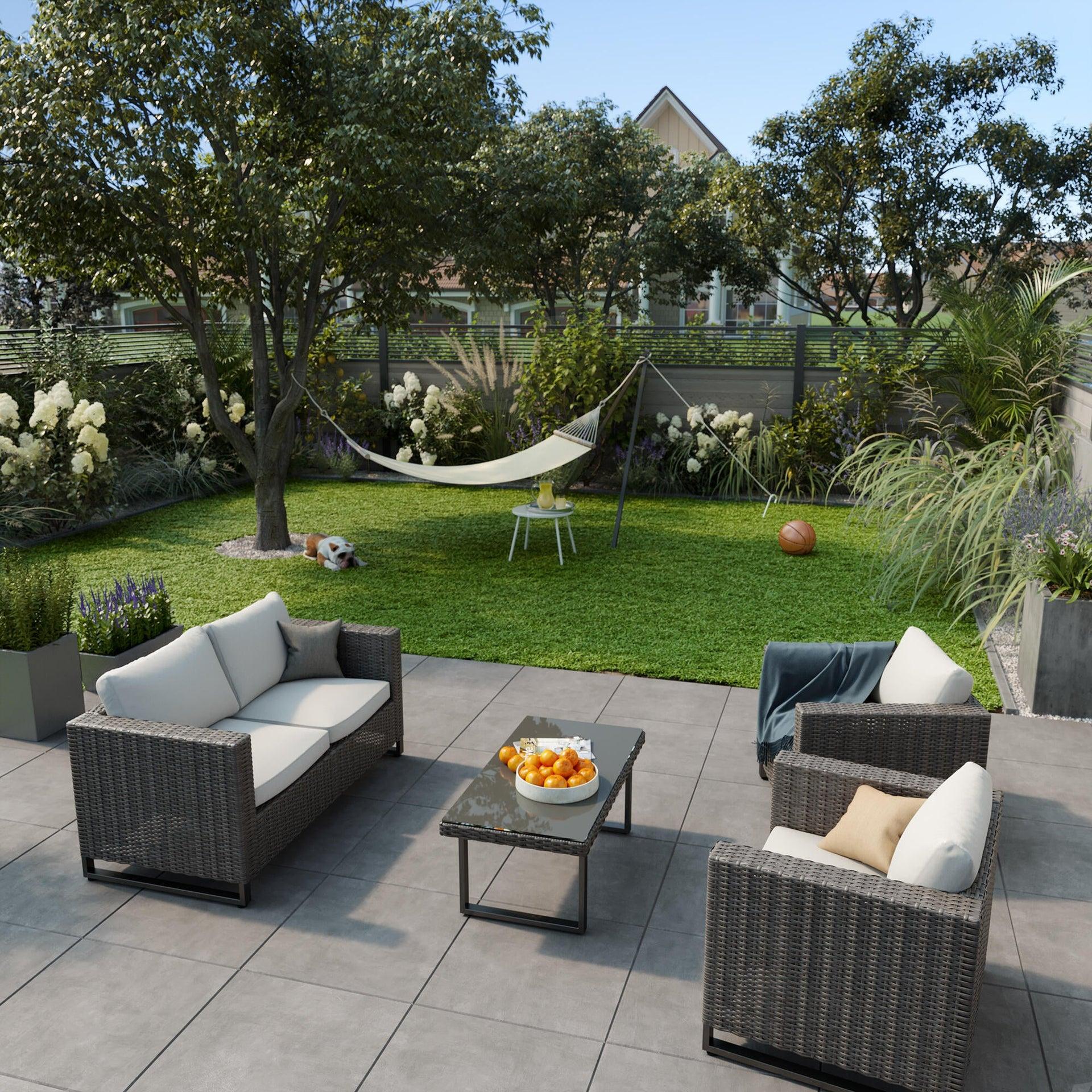 Divano da giardino con cuscino 2 posti in acciaio Noa NATERIAL colore antracite - 5