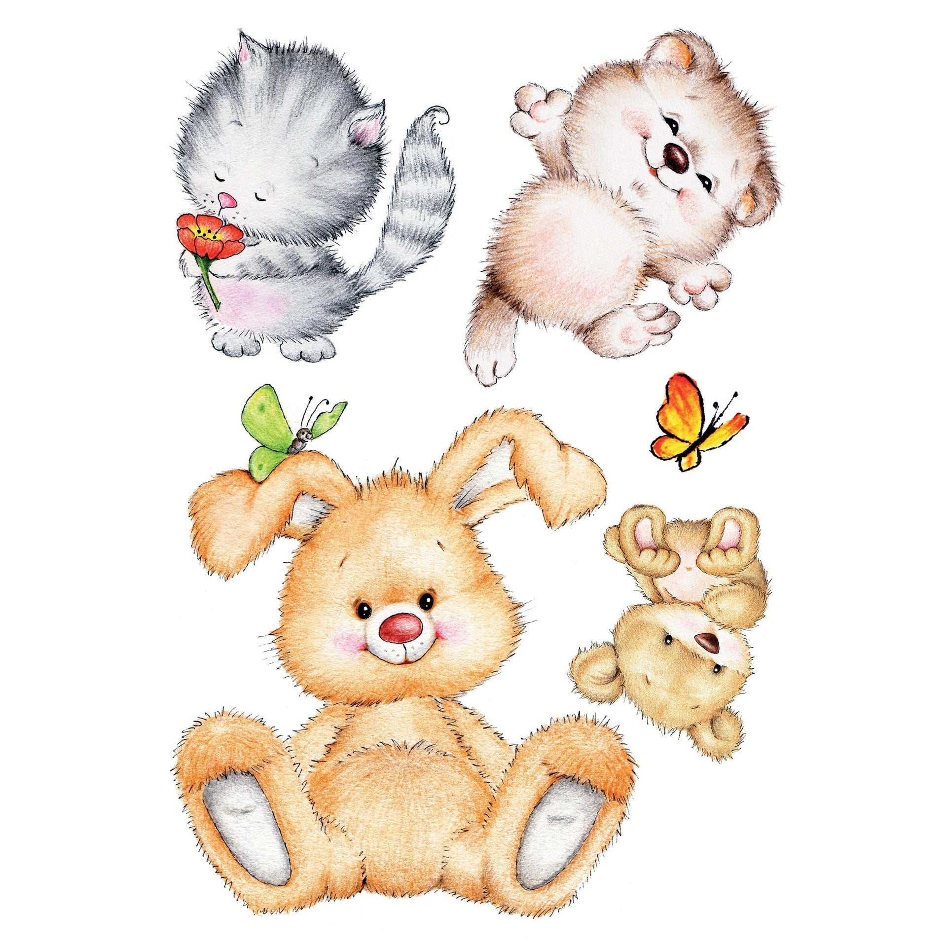 Sticker Wall Cute Animals 47x67 cm - 2