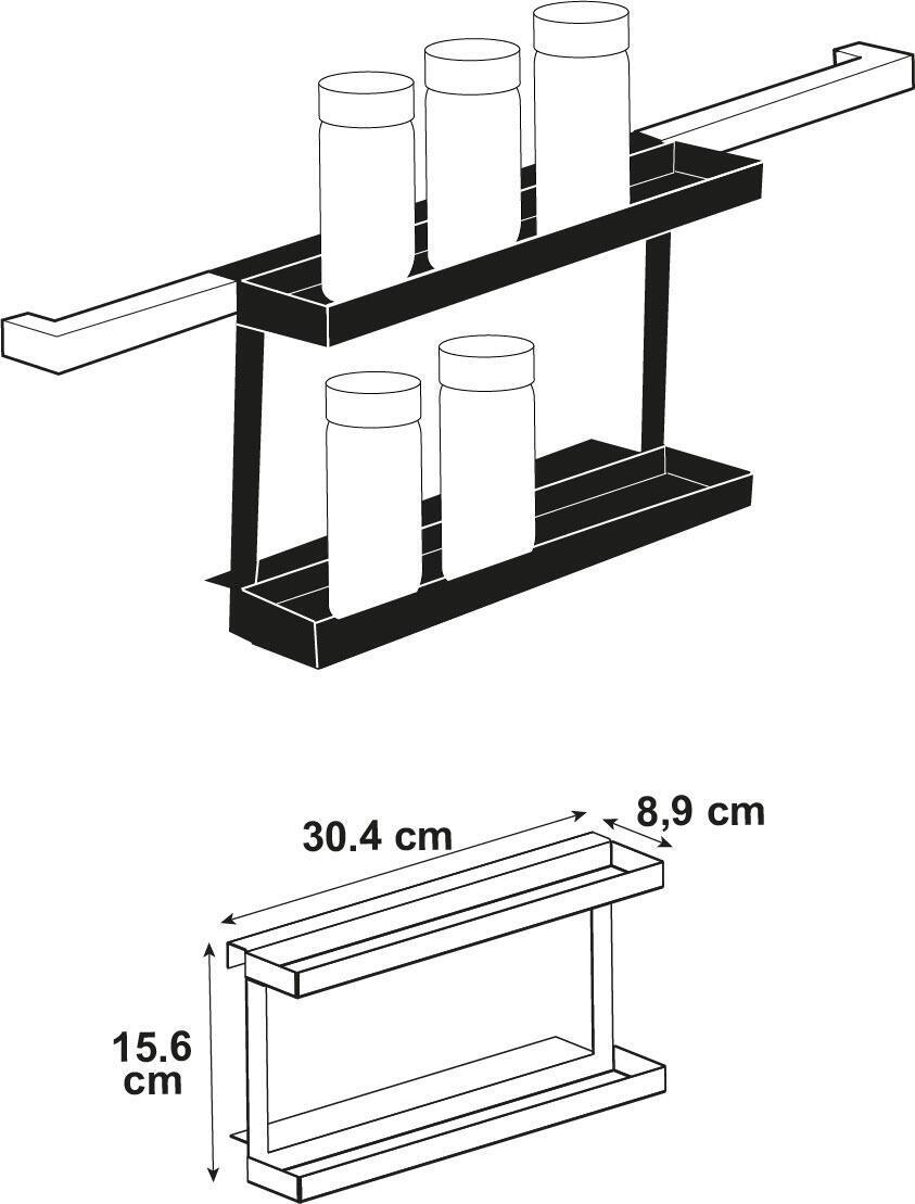 Ripiano per le spezie gancio nero P 30.4 cm x L 88 x H 156.5 mm - 4