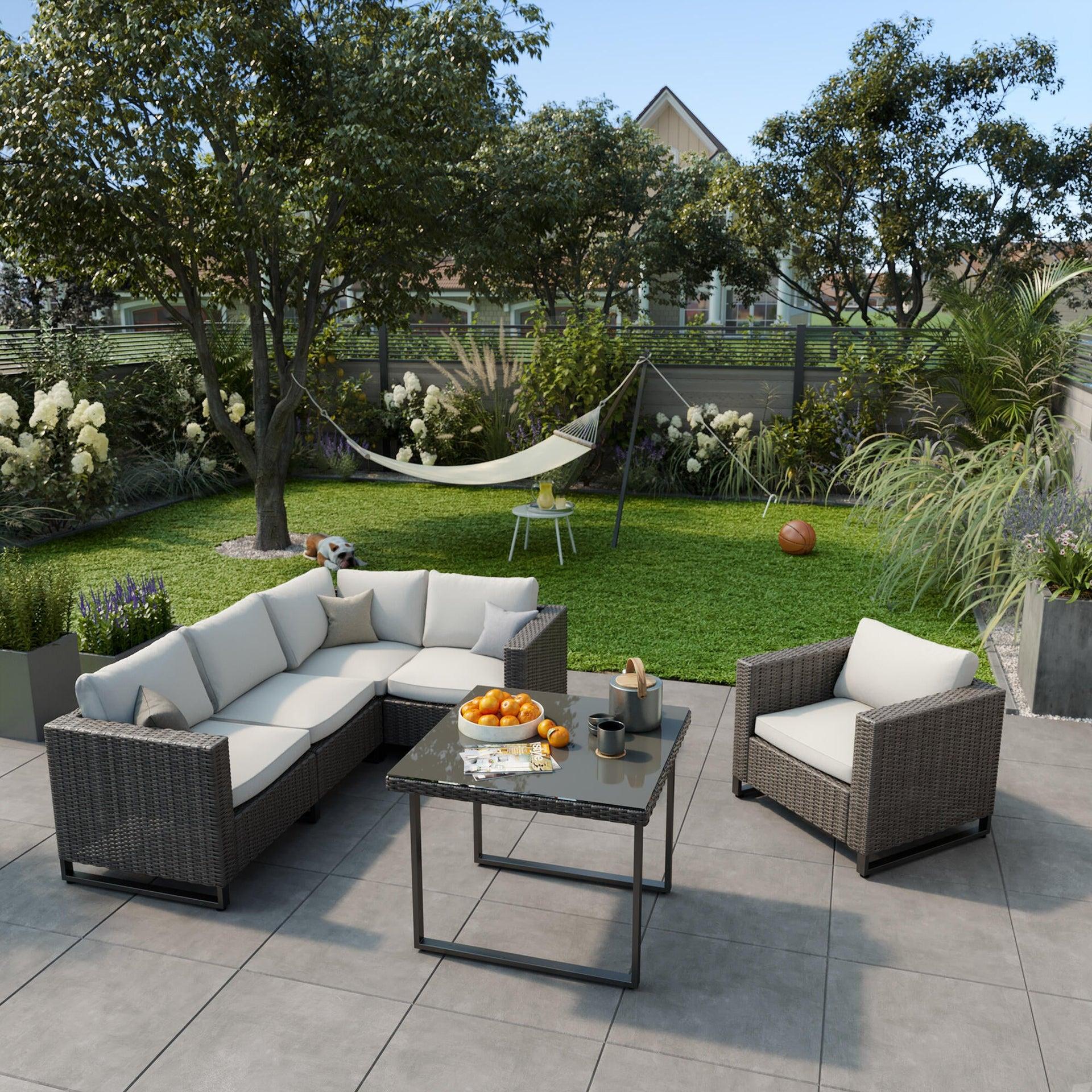 Poltrona da giardino con cuscino in acciaio Noa NATERIAL colore antracite - 5