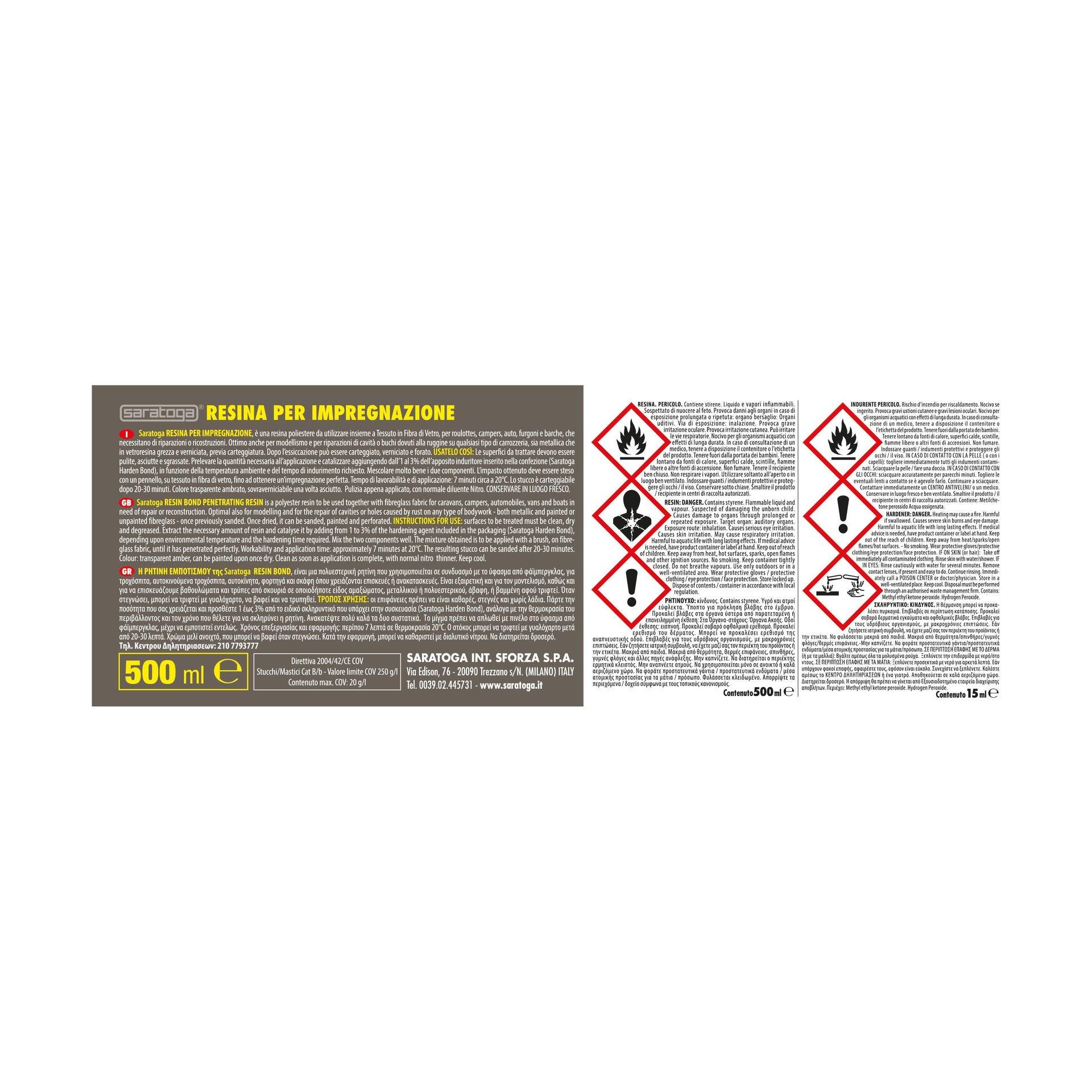 Stucco di riparazione metallo SARATOGA Resin Bond resina per impregnazione 500 ml - 3