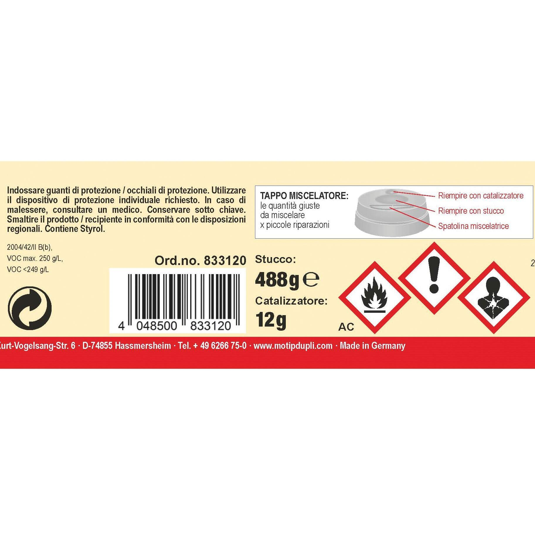 Stucco di riparazione metallo PRESTO Poliestere Microfine 500 g - 3
