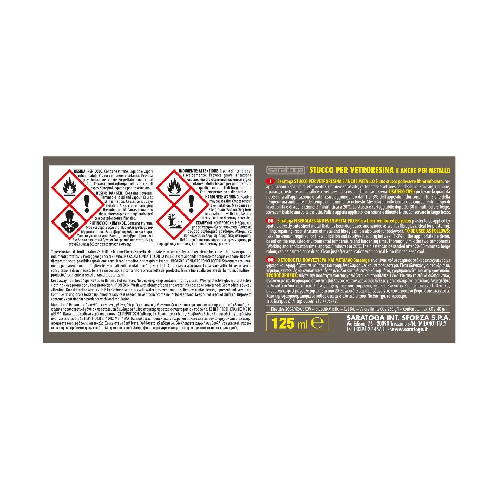 Stucco di riparazione plastica e vetroresina SARATOGA Fiber Bond 125 ml - 3