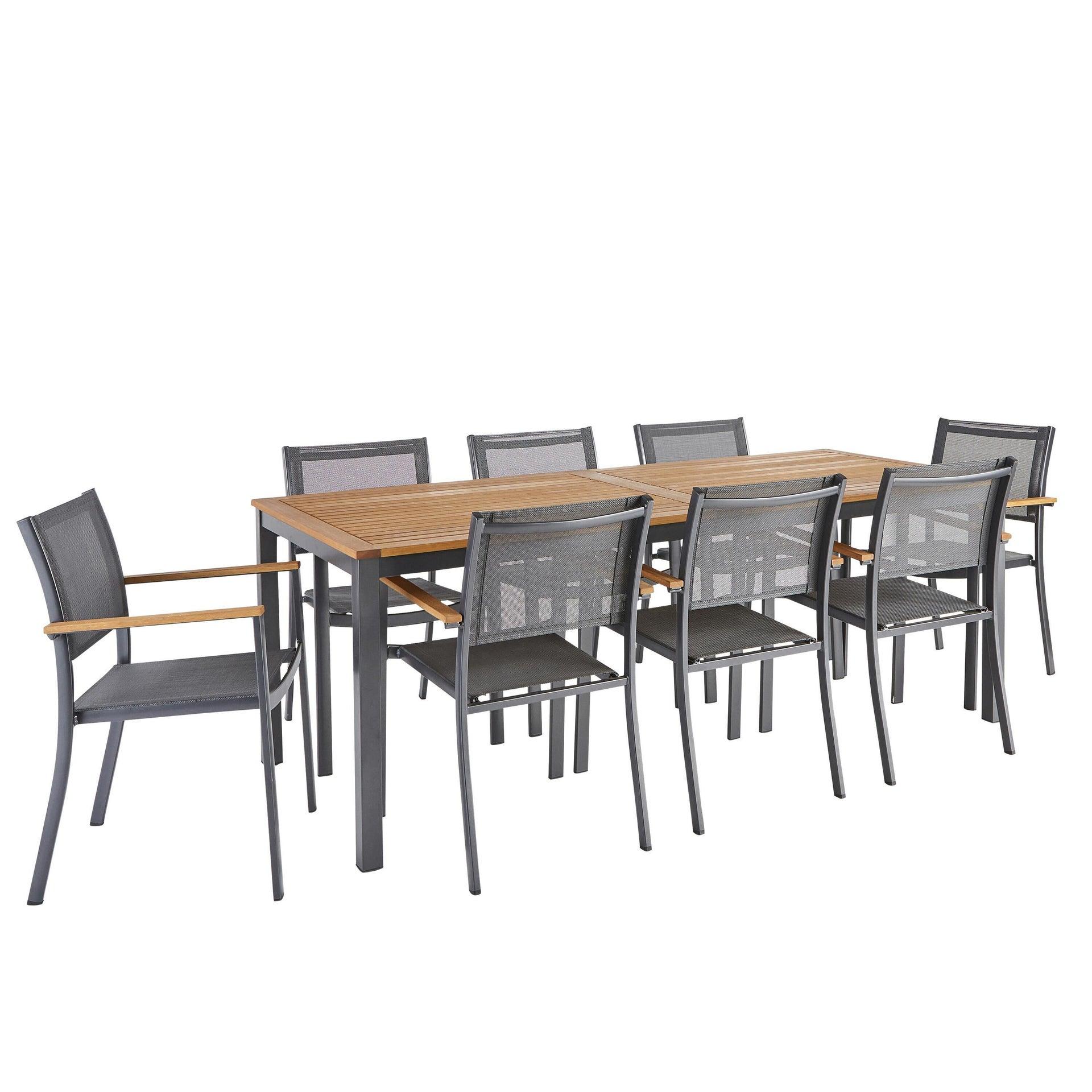 Sedia con braccioli senza cuscino in alluminio Oris NATERIAL colore teak - 3