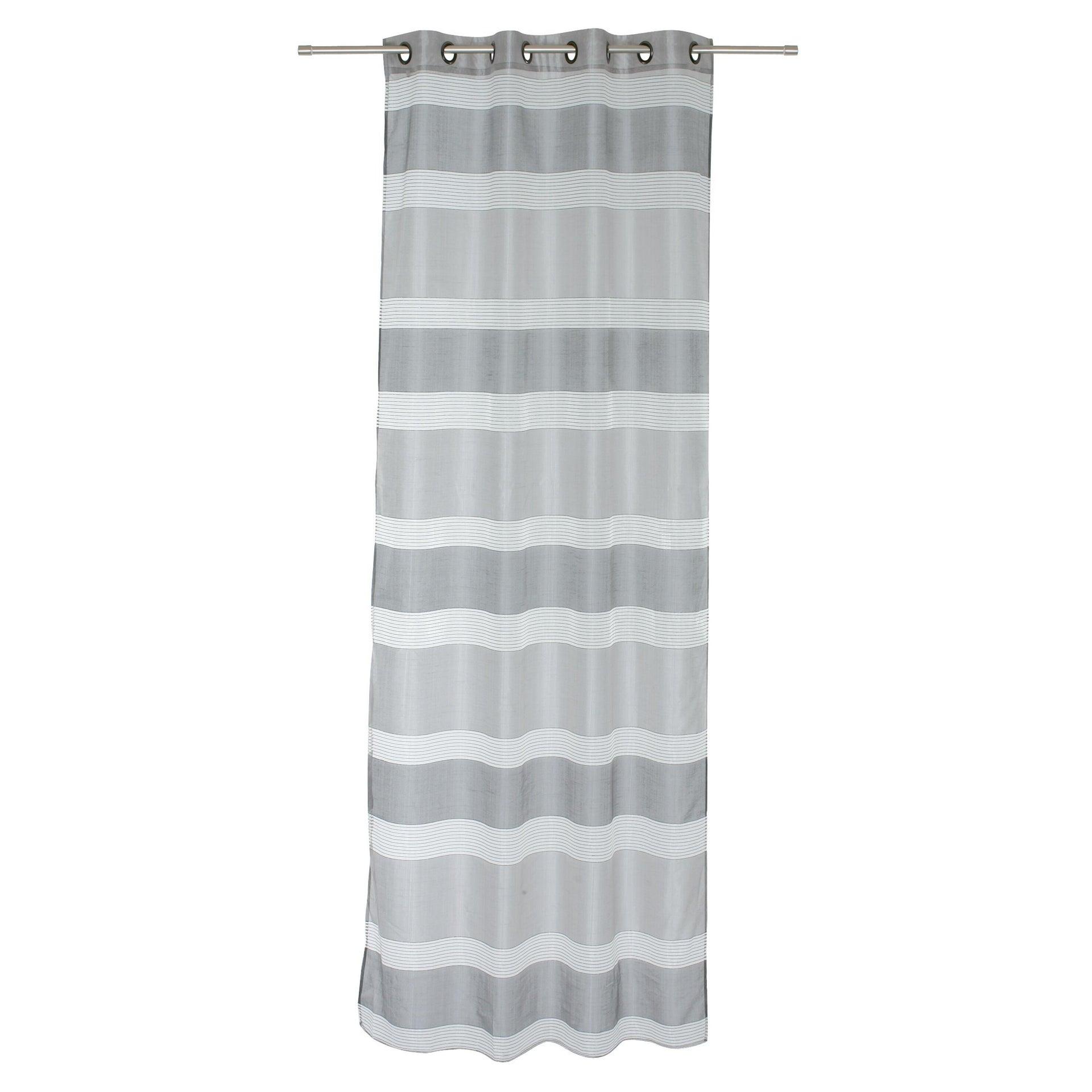 Tenda Stripe grigio occhielli 140 x 280 cm - 2