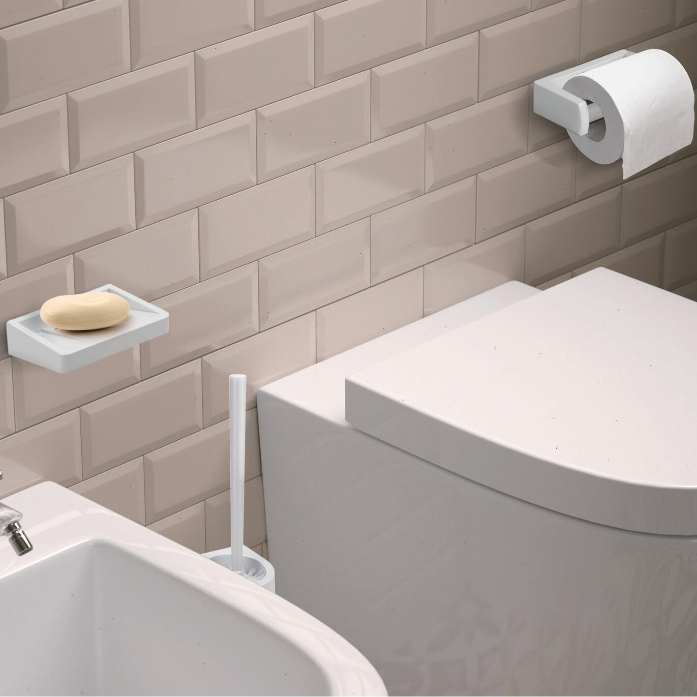 Porta scopino wc a muro in abs bianco - 4