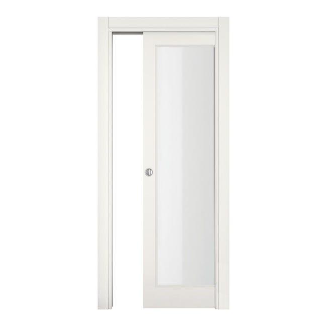 Porta scorrevole a scomparsa Word Vetrata bianco laccato L 70 x H 210 cm reversibile - 1