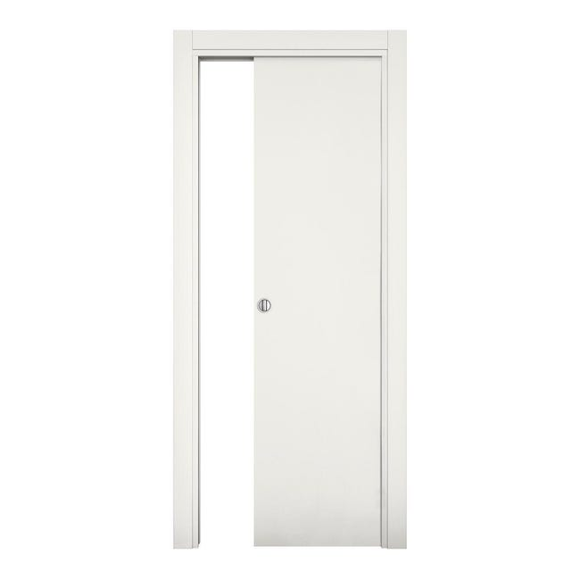 Porta scorrevole a scomparsa Word bianco laccato L 60 x H 210 cm reversibile - 1
