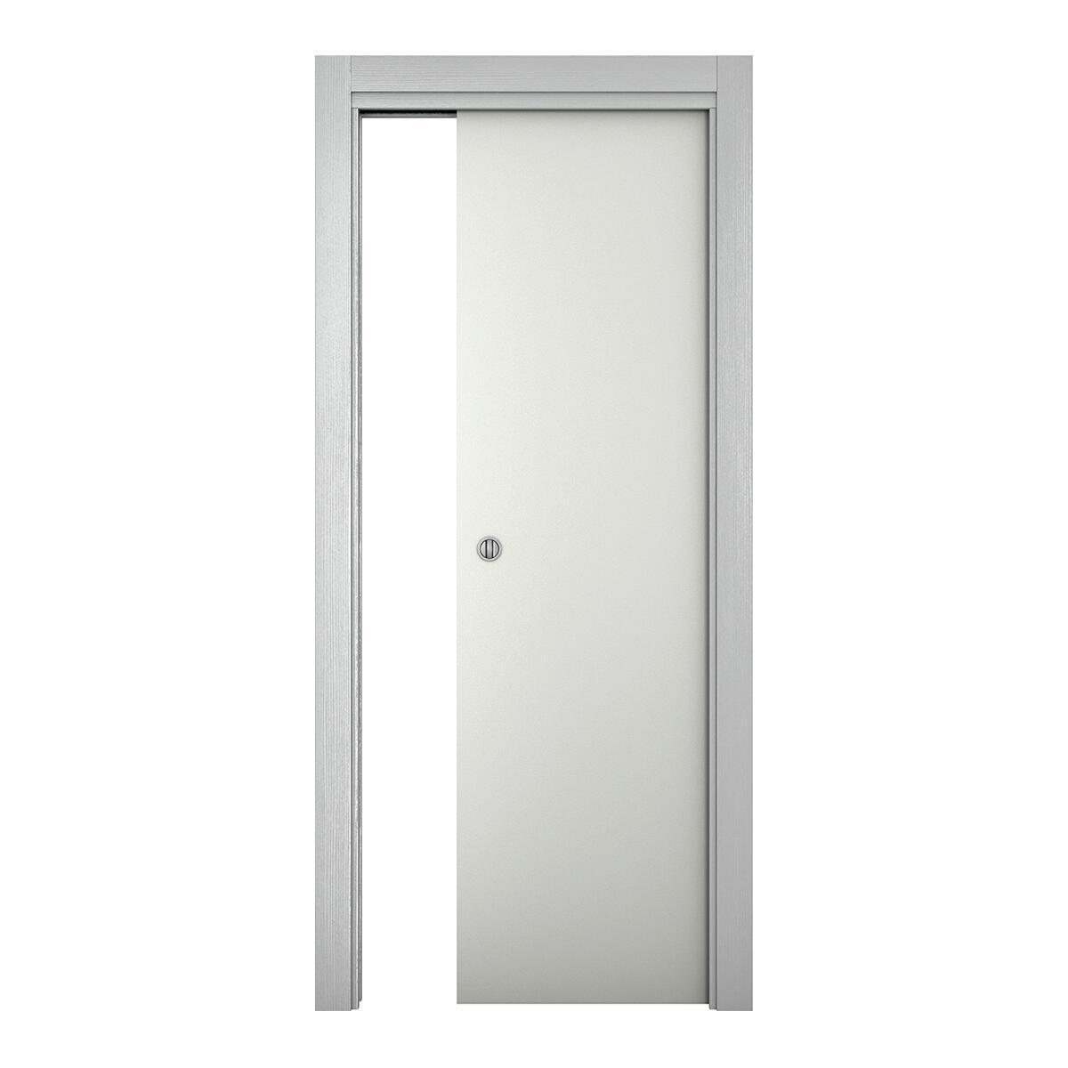 Porta scorrevole a scomparsa Bath bianco laccato L 80 x H 210 cm reversibile