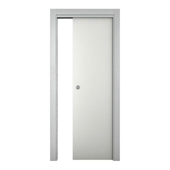 Porta scorrevole a scomparsa Bath bianco laccato L 80 x H 210 cm reversibile - 1
