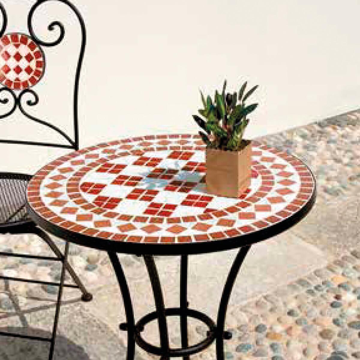 Tavolo da giardino tondo Tmt con piano in mosaico Ø 55 cm - 3