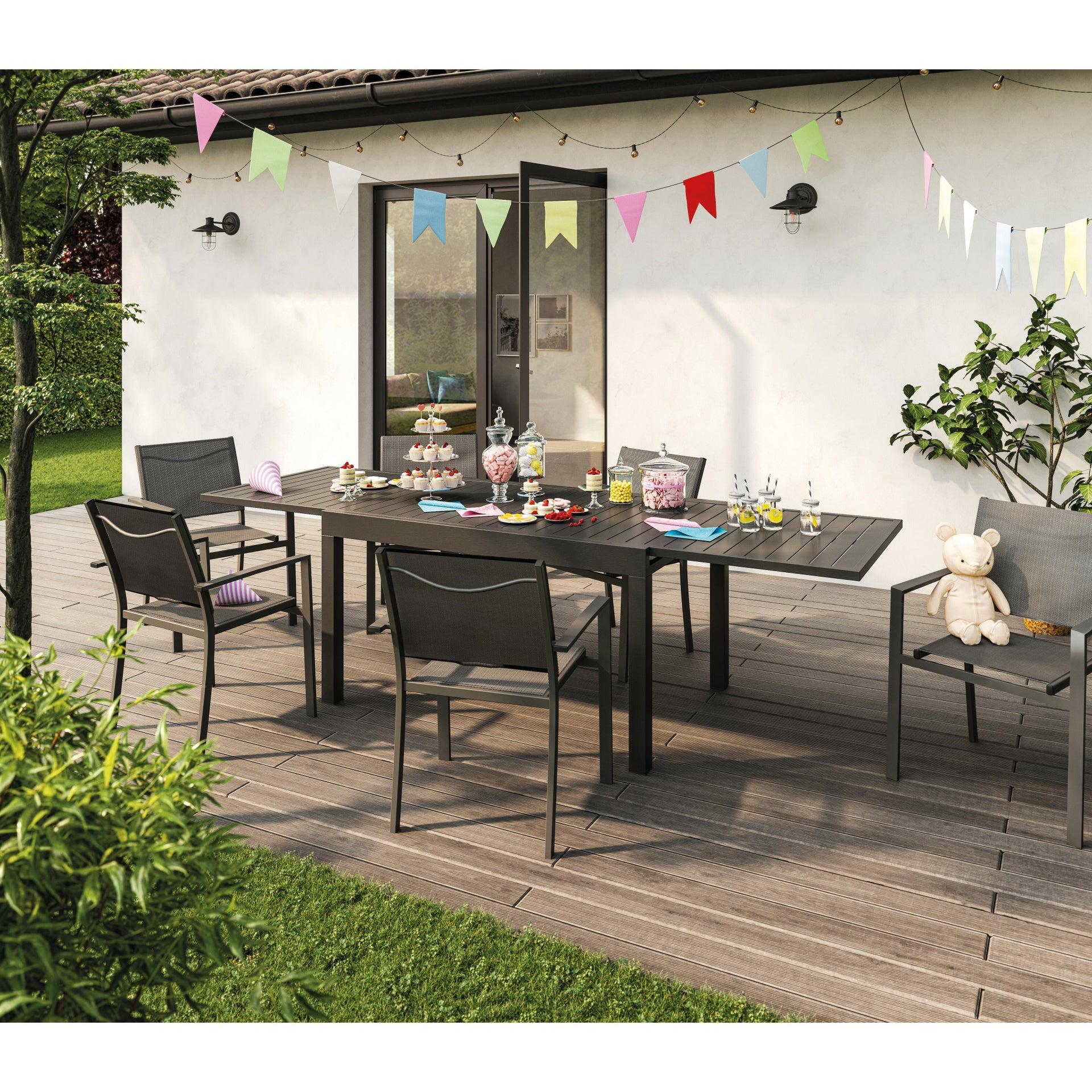 Tavolo da giardino allungabile rettangolare Lisbon con piano in alluminio L 135/270 x P 90 cm - 17