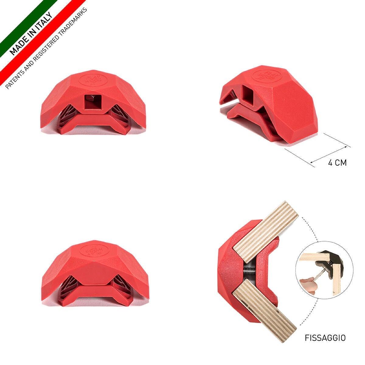 Sistema di assemblaggio PLAYWOOD 90° in pvc , rosso - 2
