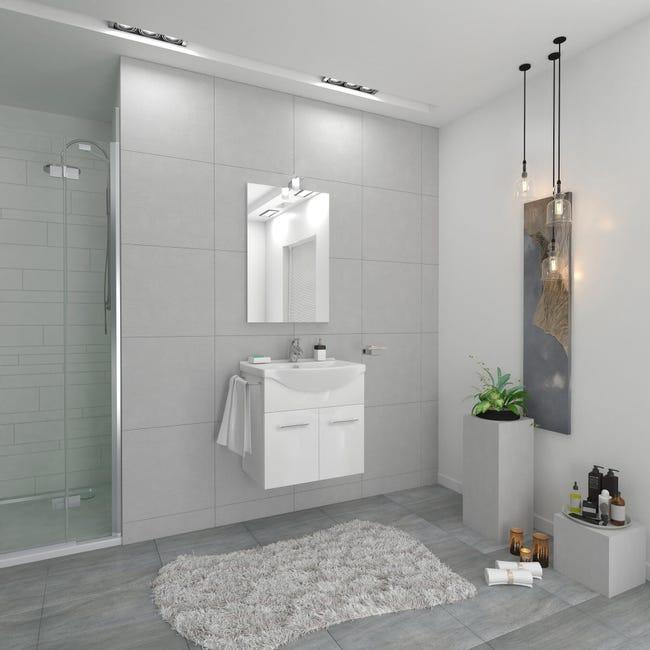 Mobile bagno Ginevra bianco lucido L 56.5 cm - 1
