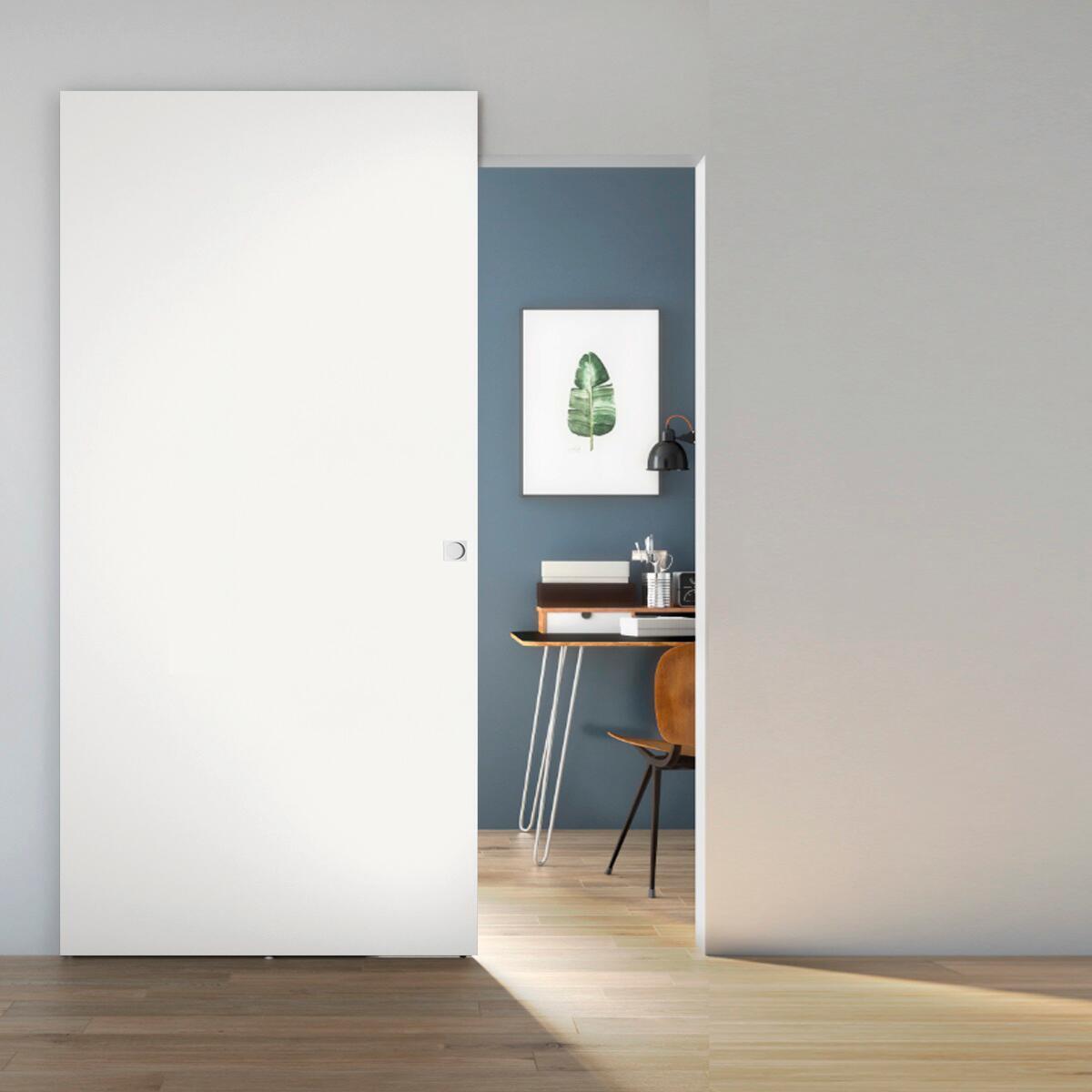 Porta scorrevole con binario esterno Space Lac Qdra in legno, Binario nascosto L 101 x H 230 cm dx - 1