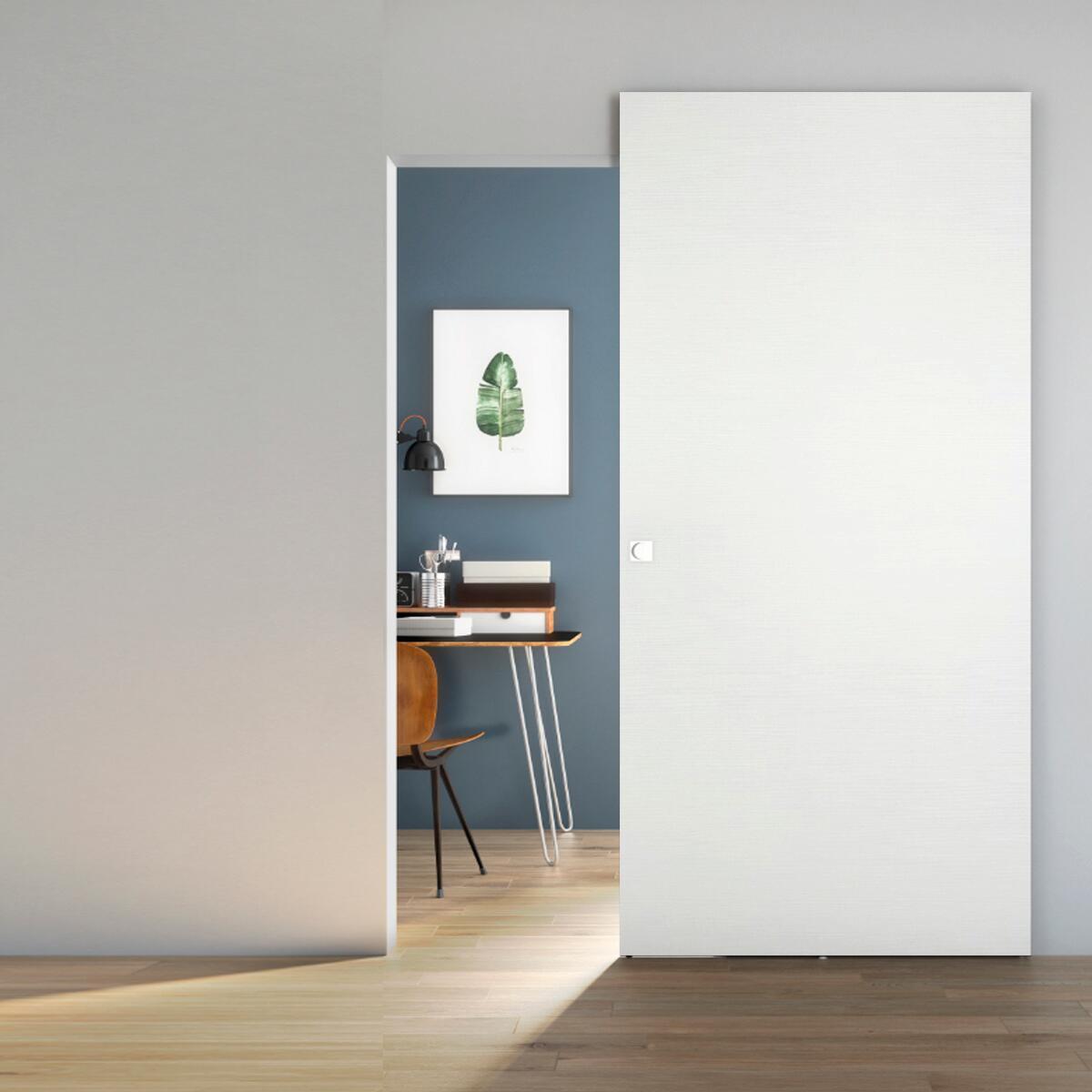 Porta scorrevole con binario esterno Space Matrix Qdra in legno, Binario nascosto L 101 x H 230 cm sx - 1