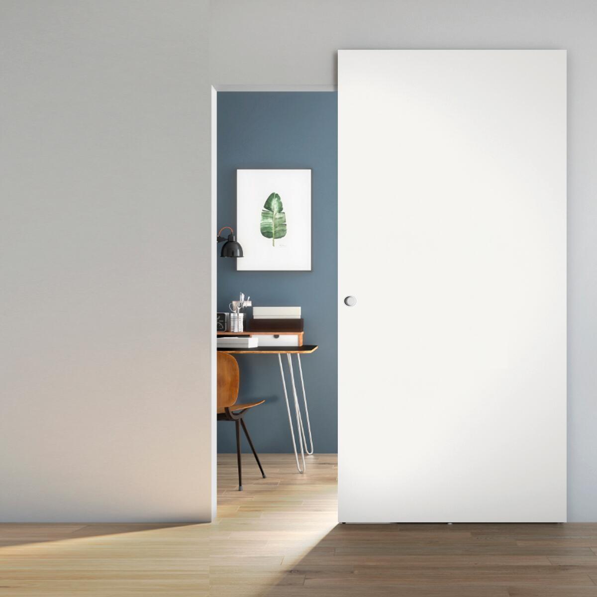 Porta scorrevole con binario esterno Space Lam Tda in legno laccato Binario nascosto L 101 x H 230 cm sx - 3