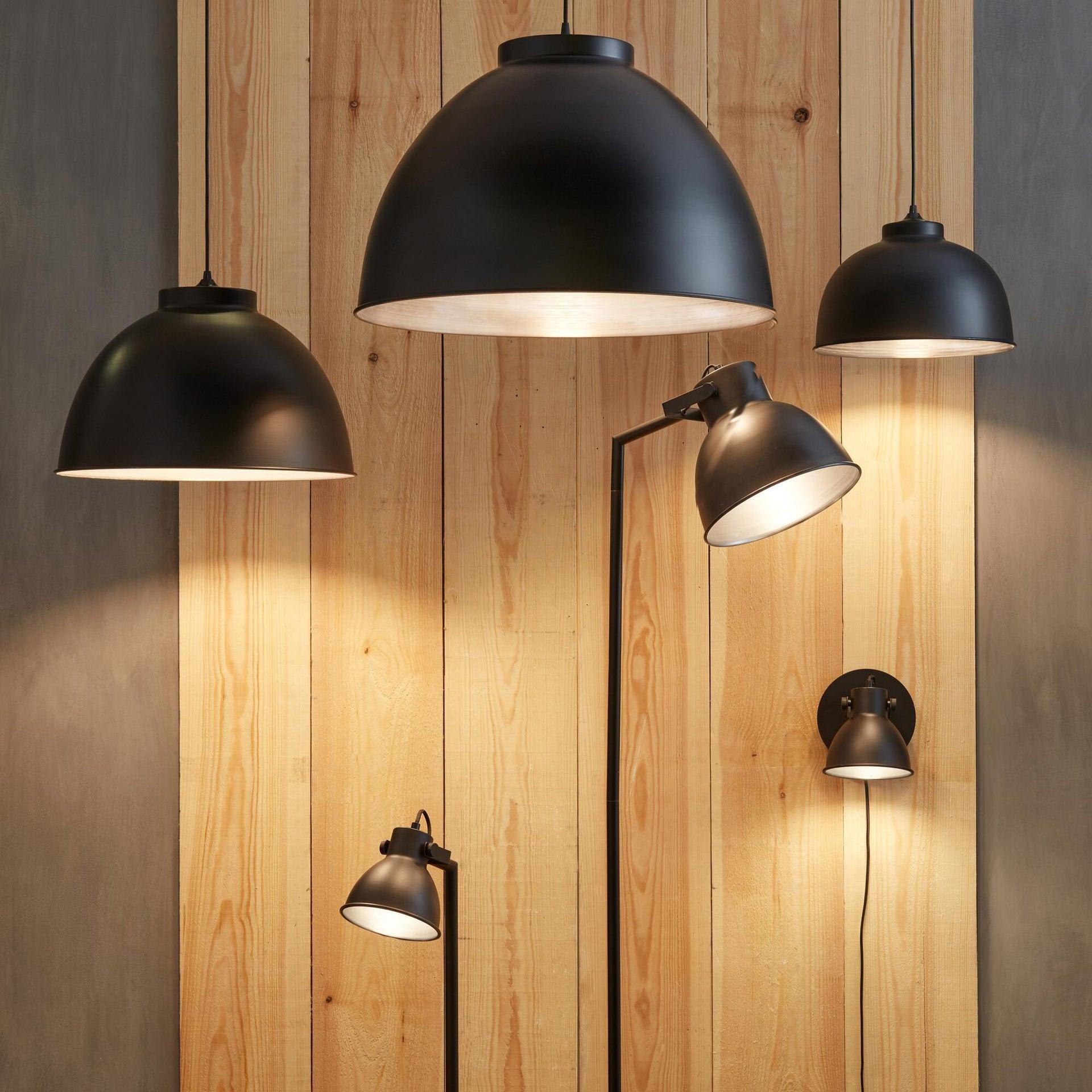 Lampadario Industriale Mezzo nero in metallo, D. 45 cm, INSPIRE - 1