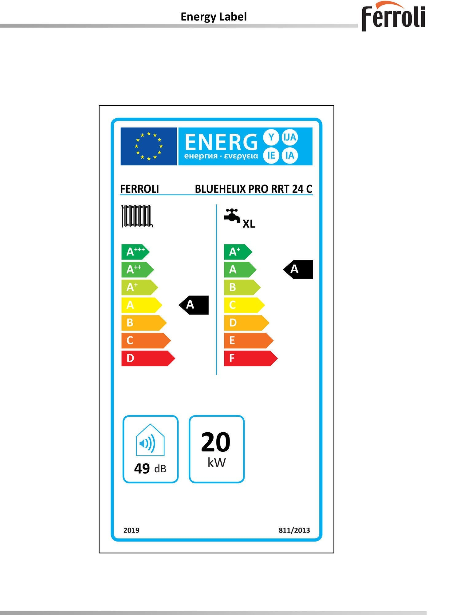 Caldaia a gas Metano a condensazione 20 Kw FERROLI Bluehelix - 2