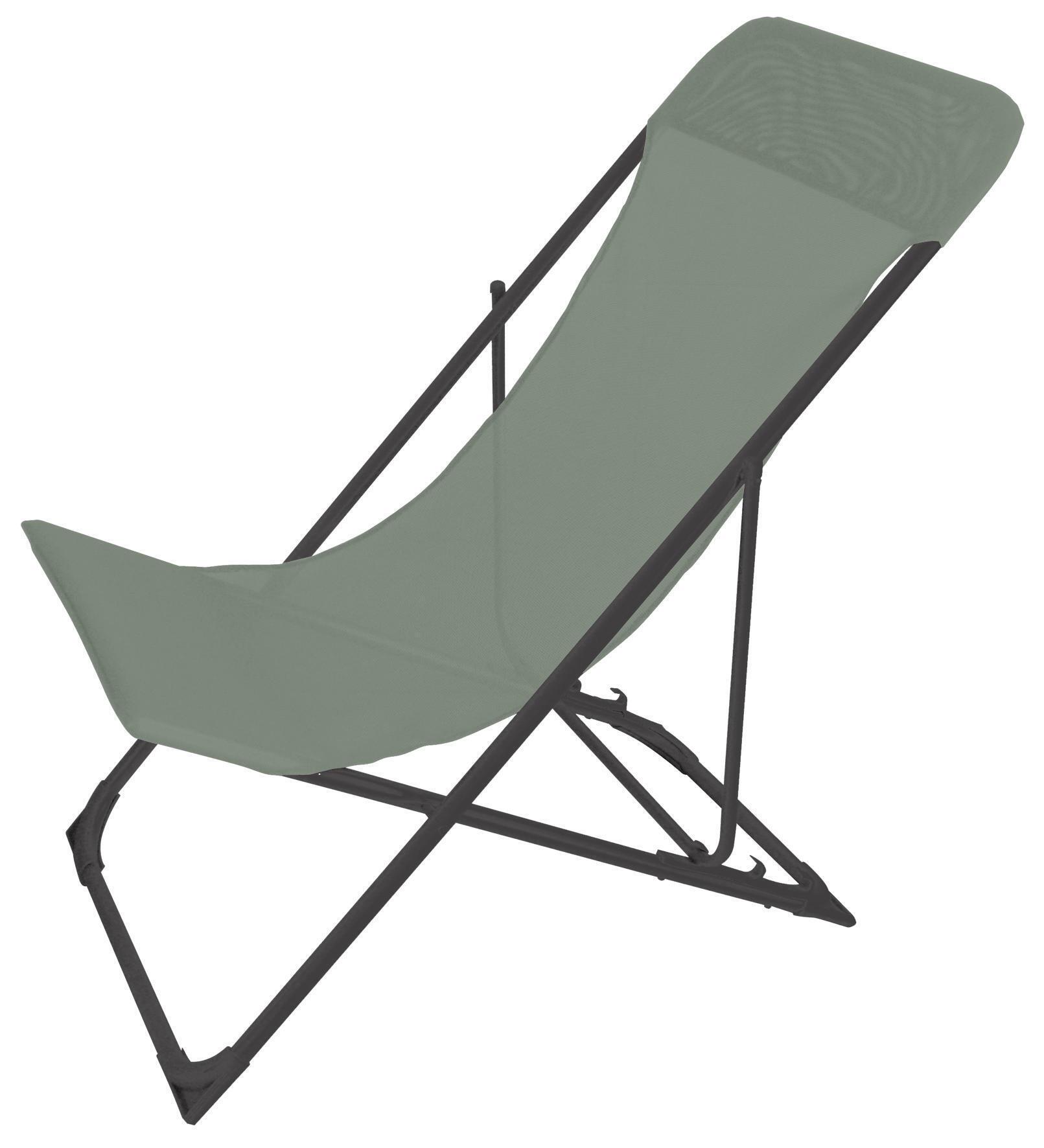 Sedia da giardino senza cuscino pieghevole in acciaio Biganos colore verde - 3