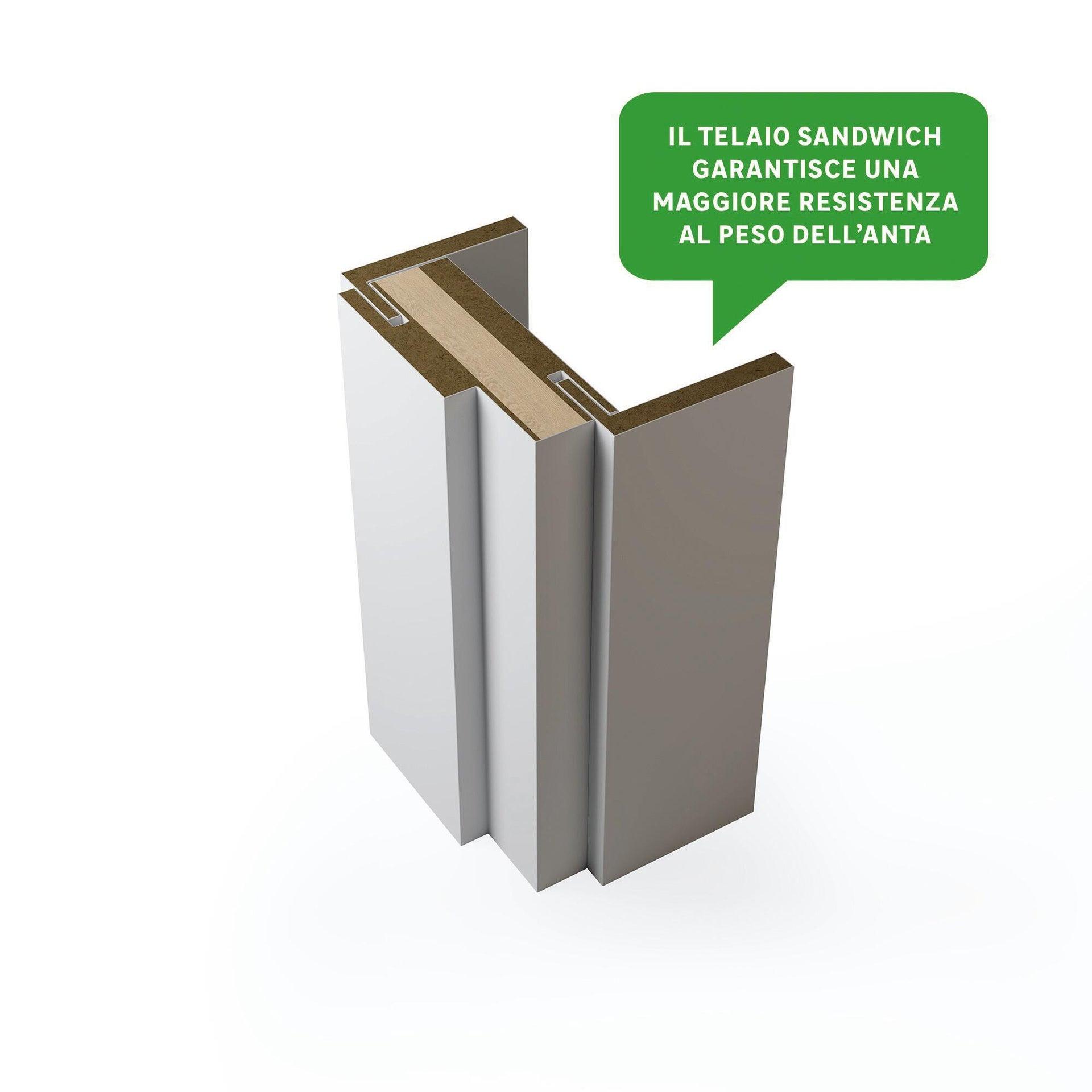 Porta a battente Cemento grigio L 80 x H 210 cm reversibile - 5