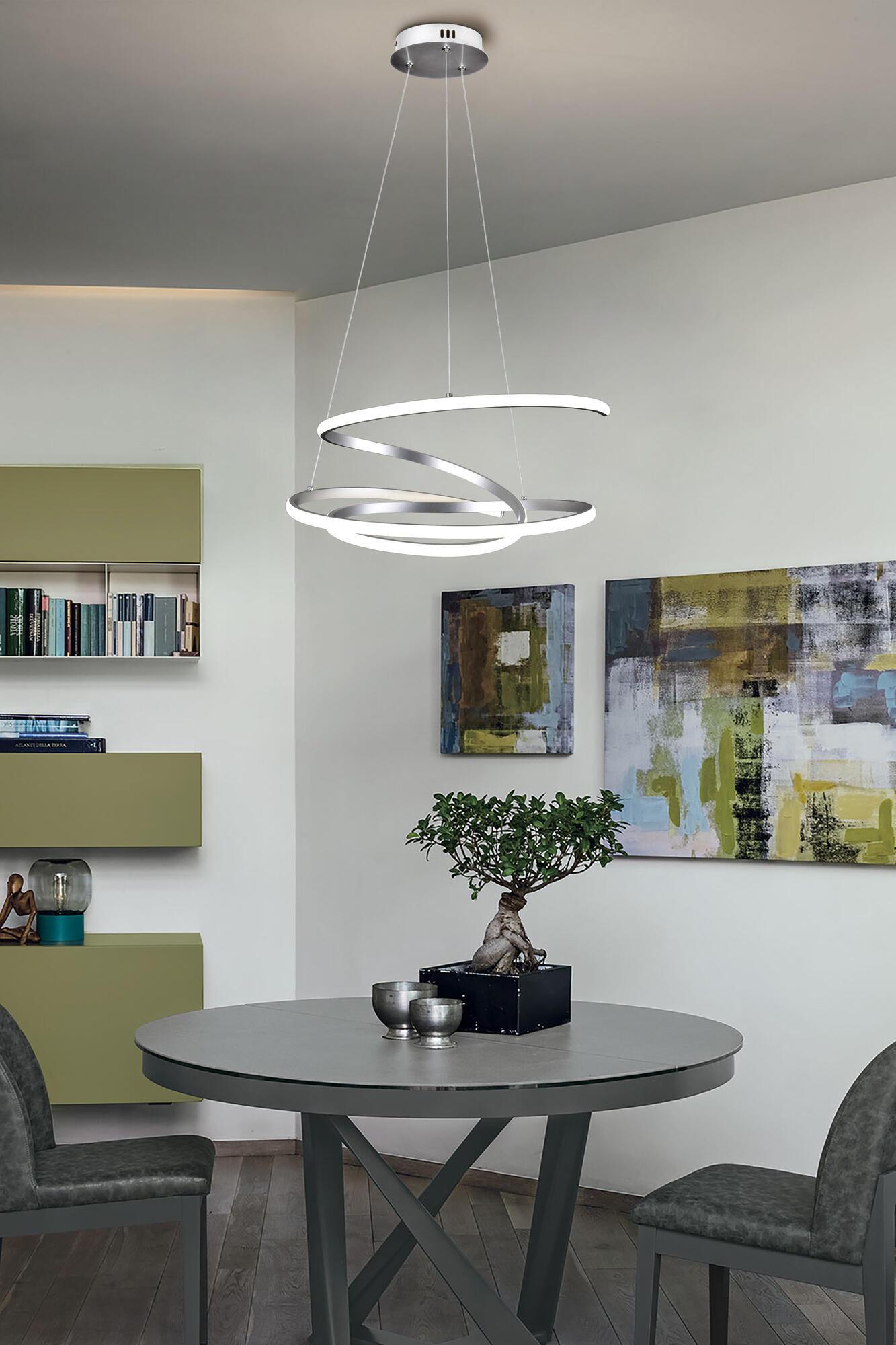 Lampadario Moderno KILEY LED integrato silver, in alluminio, L. 54 cm - 3
