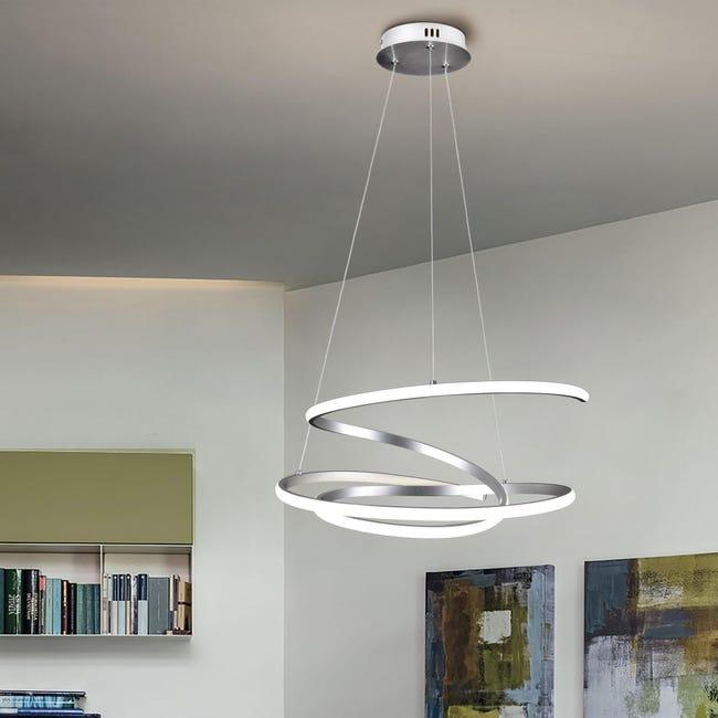 Lampadario Moderno KILEY LED integrato silver, in alluminio, L. 54 cm - 1