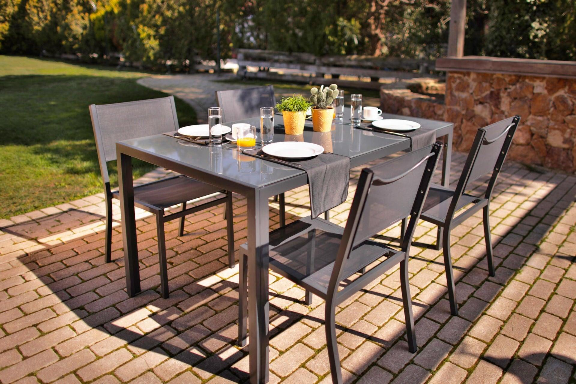 Tavolo da giardino rettangolare con piano in metallo L 90 x P 150 cm - 1