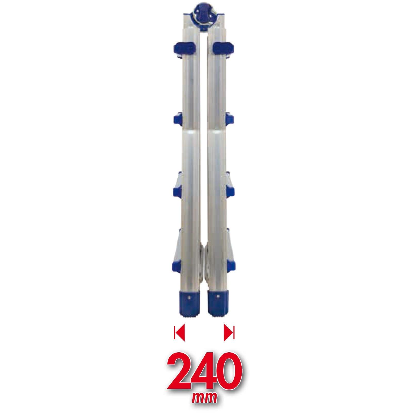 Scala telescopica FACAL Brikoblu in alluminio 4+4 gradini per lavori fino a 4.9 m - 7