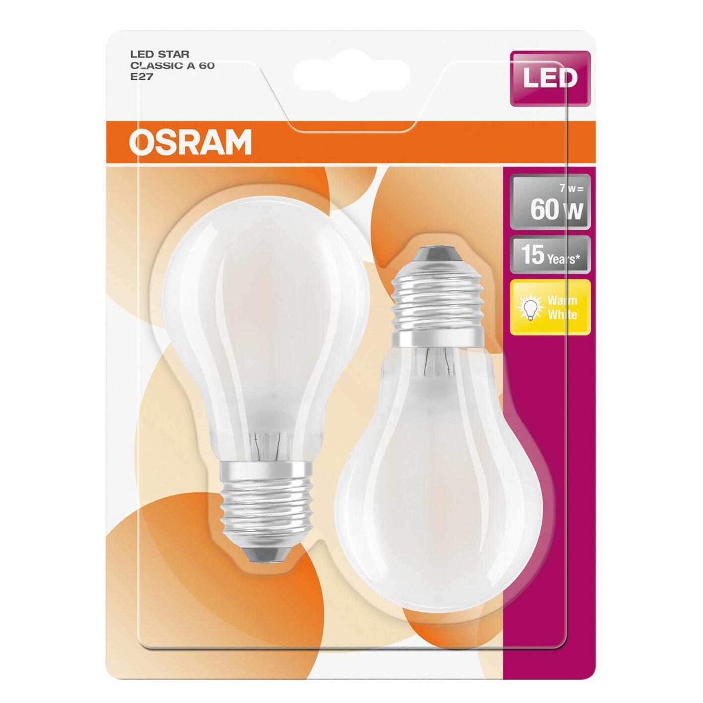 Set di 2 lampadine LED filamento, E27, Goccia, Opaco, Luce calda, 7W=806LM (equiv 60 W), 300° , OSRAM - 2