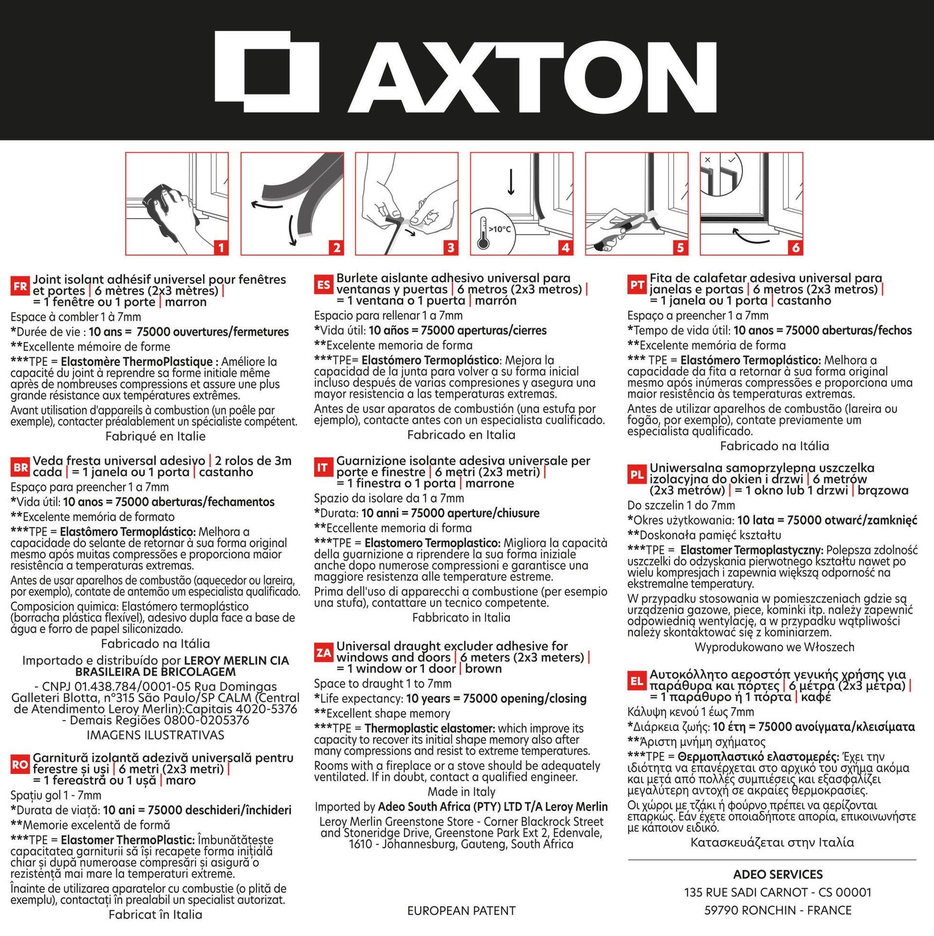 Guarnizione autoadesivo AXTON EVO marrone - 2