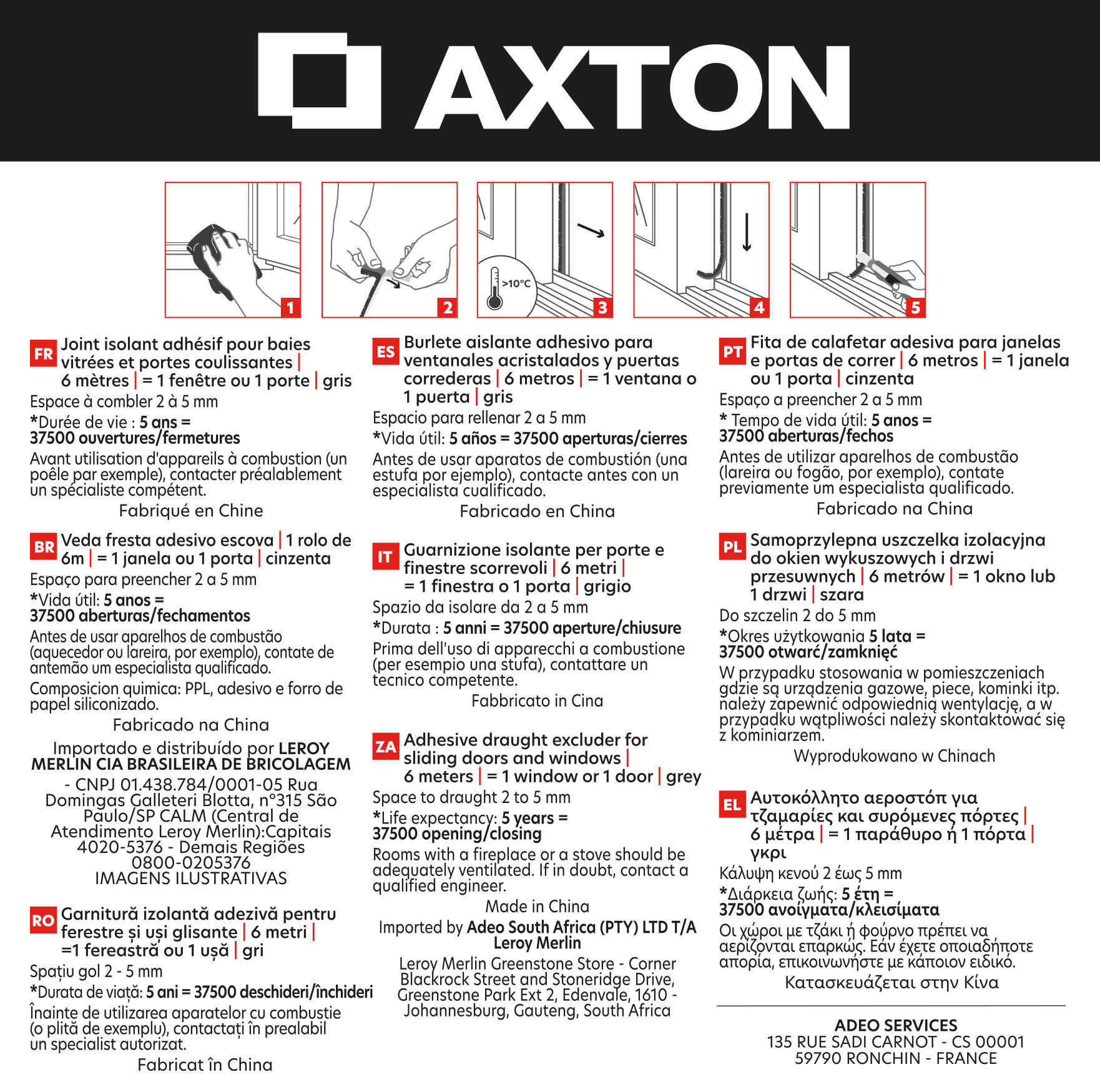 Guarnizione autoadesivo AXTON BRUSH STRIP grigio - 4