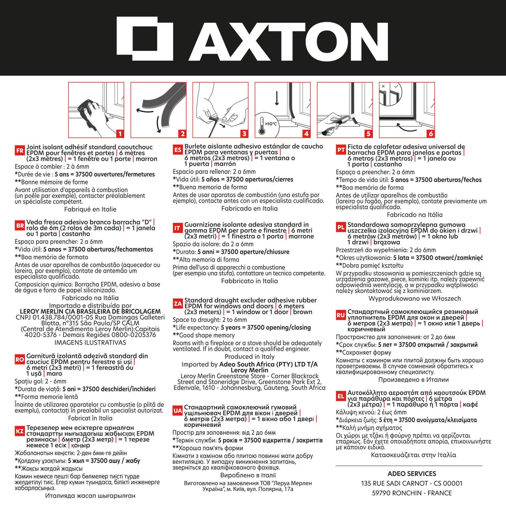Guarnizione autoadesivo AXTON strip marrone - 5