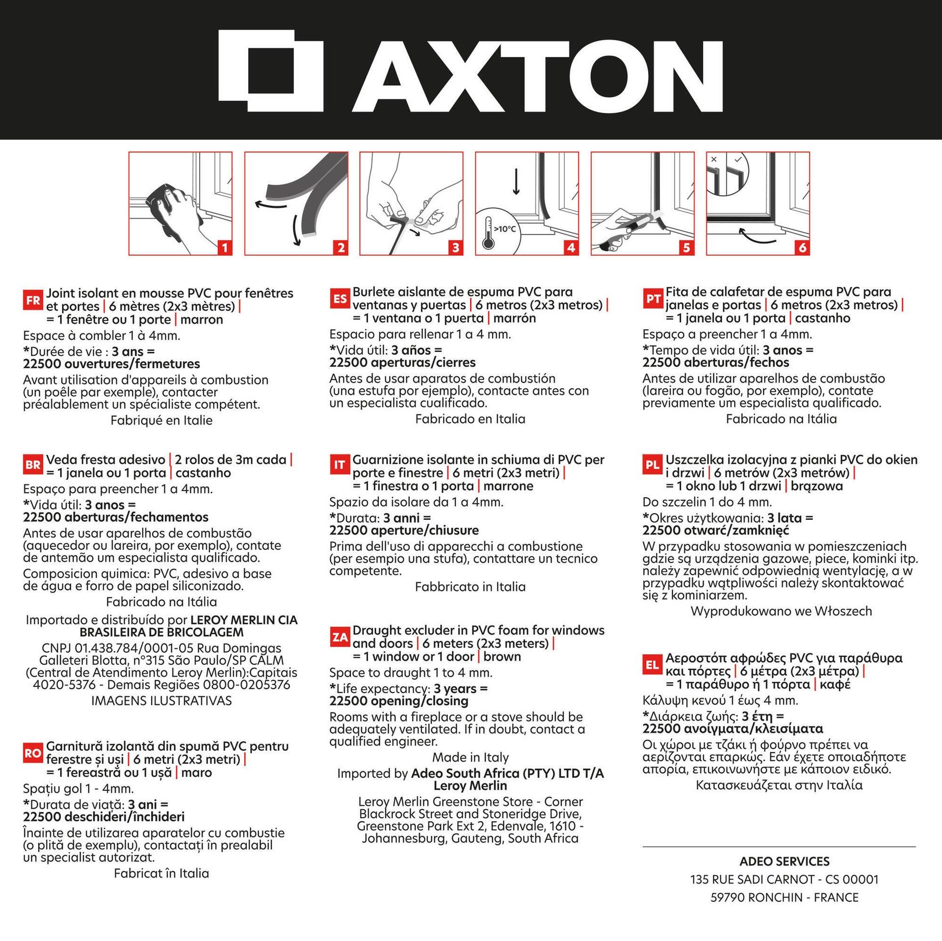 Guarnizione autoadesivo AXTON FLEX marrone - 7