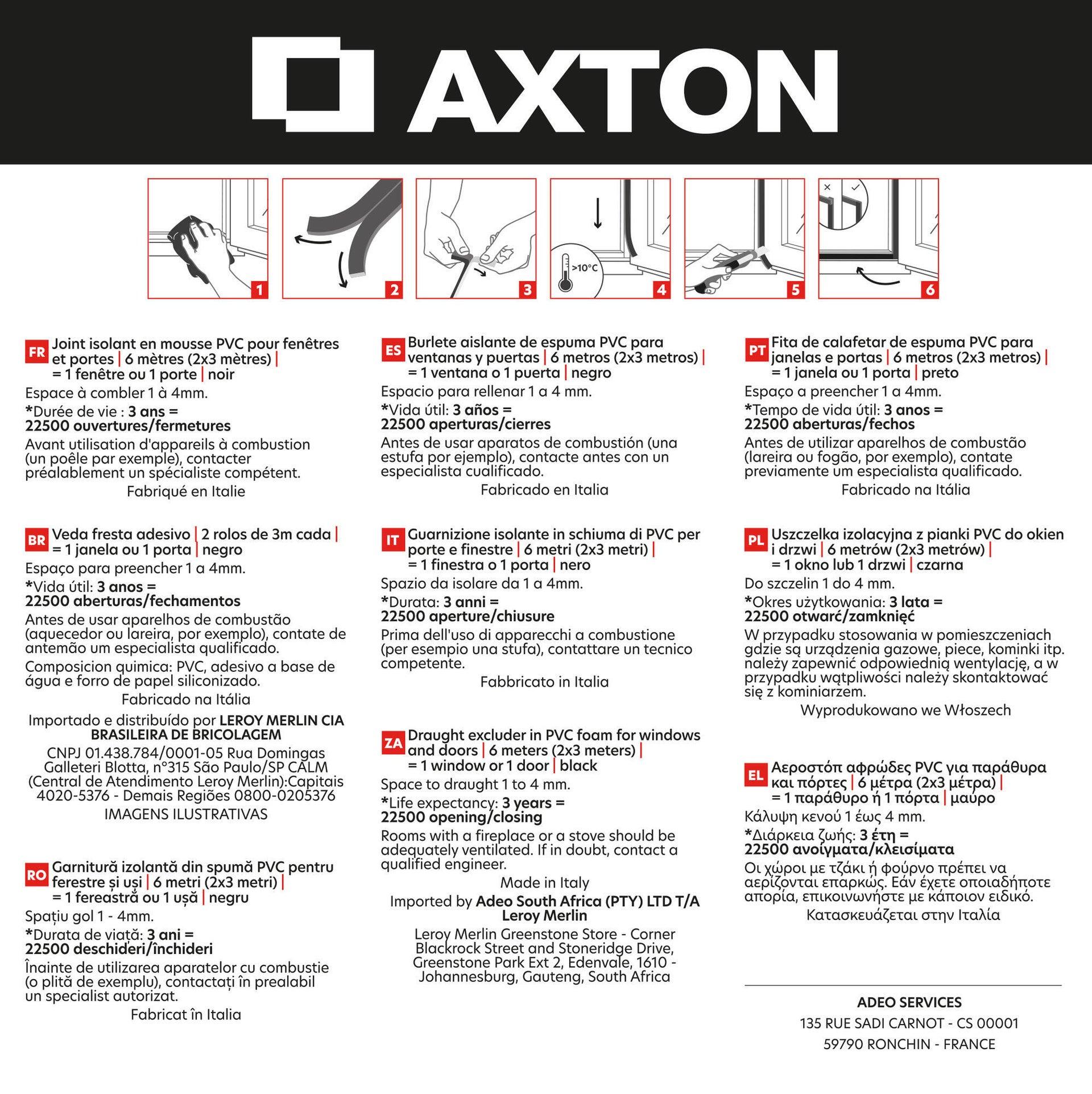 Guarnizione autoadesivo AXTON FLEX nero - 5