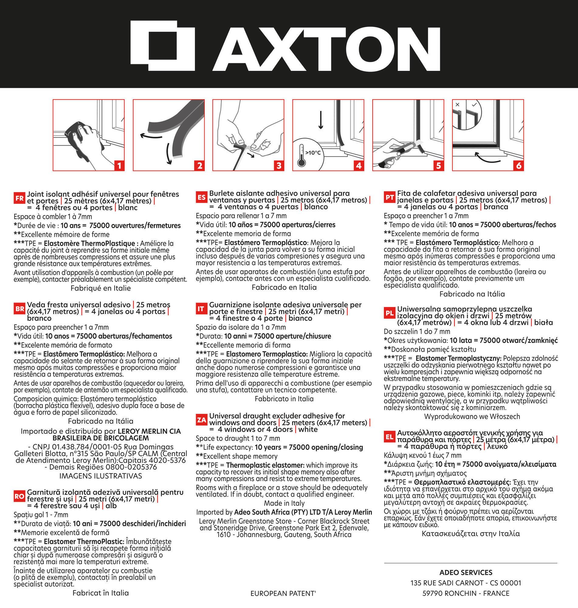 Guarnizione autoadesivo AXTON EVO bianco - 2