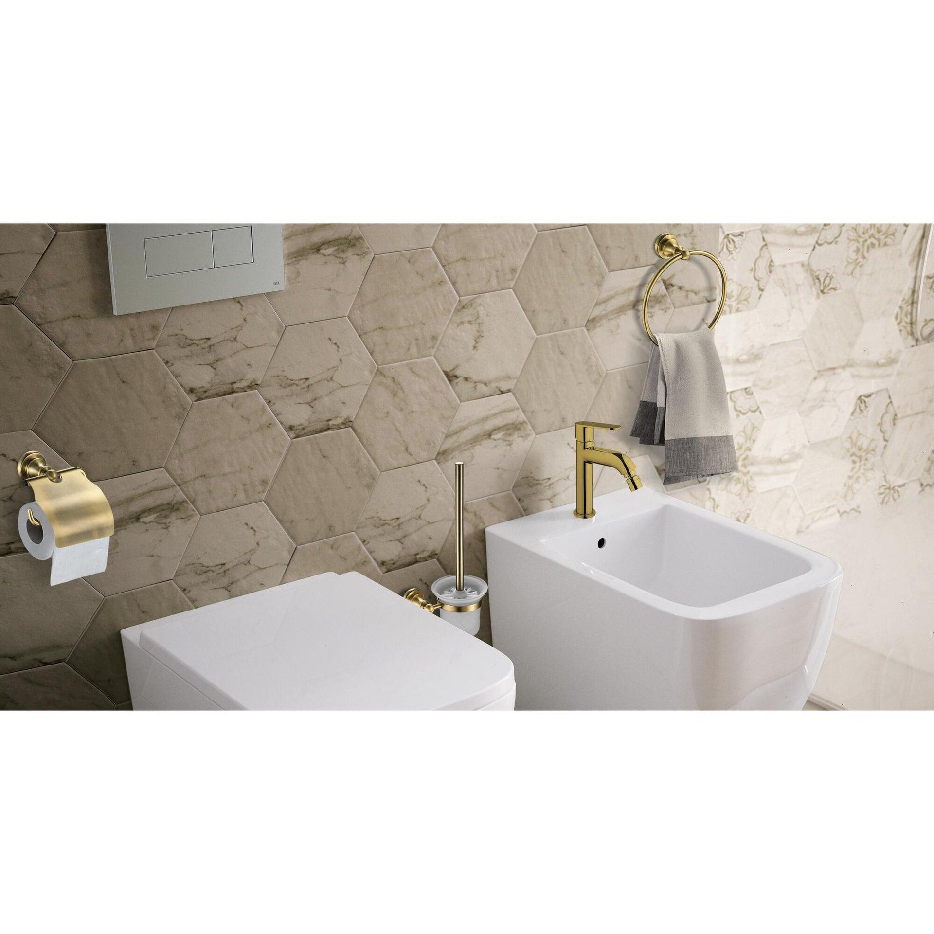 Porta scopino wc a muro in ottone oro - 2