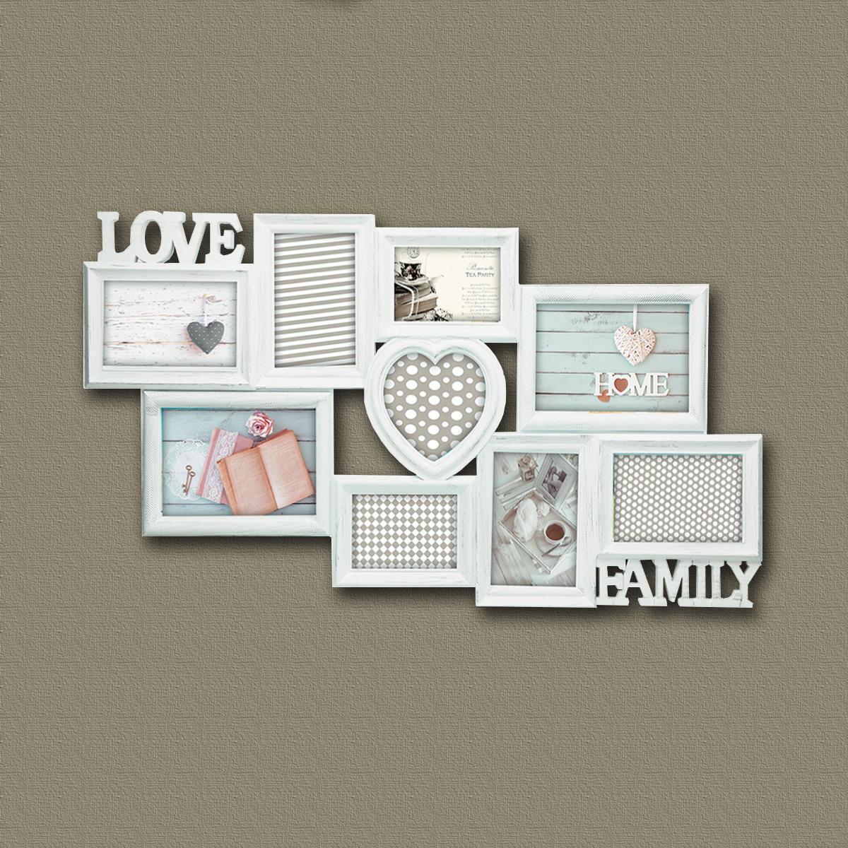 Cornice Love & family shabby per 9 fotografie 10 x 15 bianco - 2
