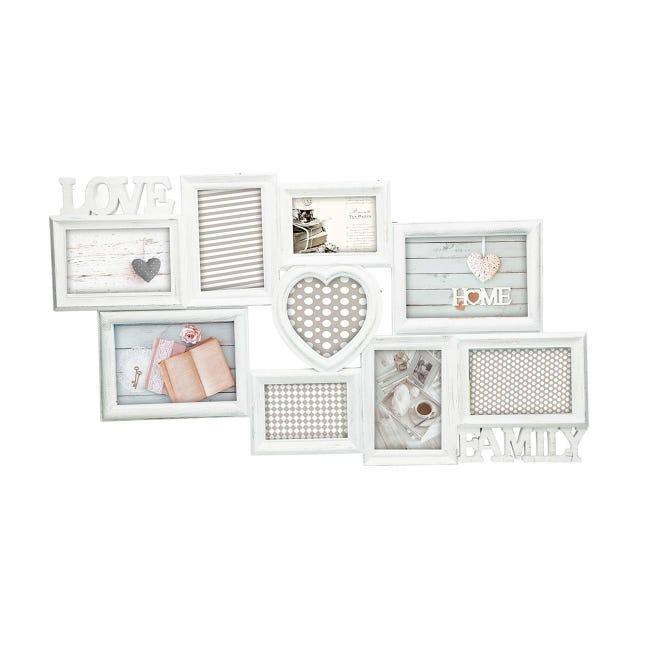 Cornice Love & family shabby per 9 fotografie 10 x 15 bianco - 1